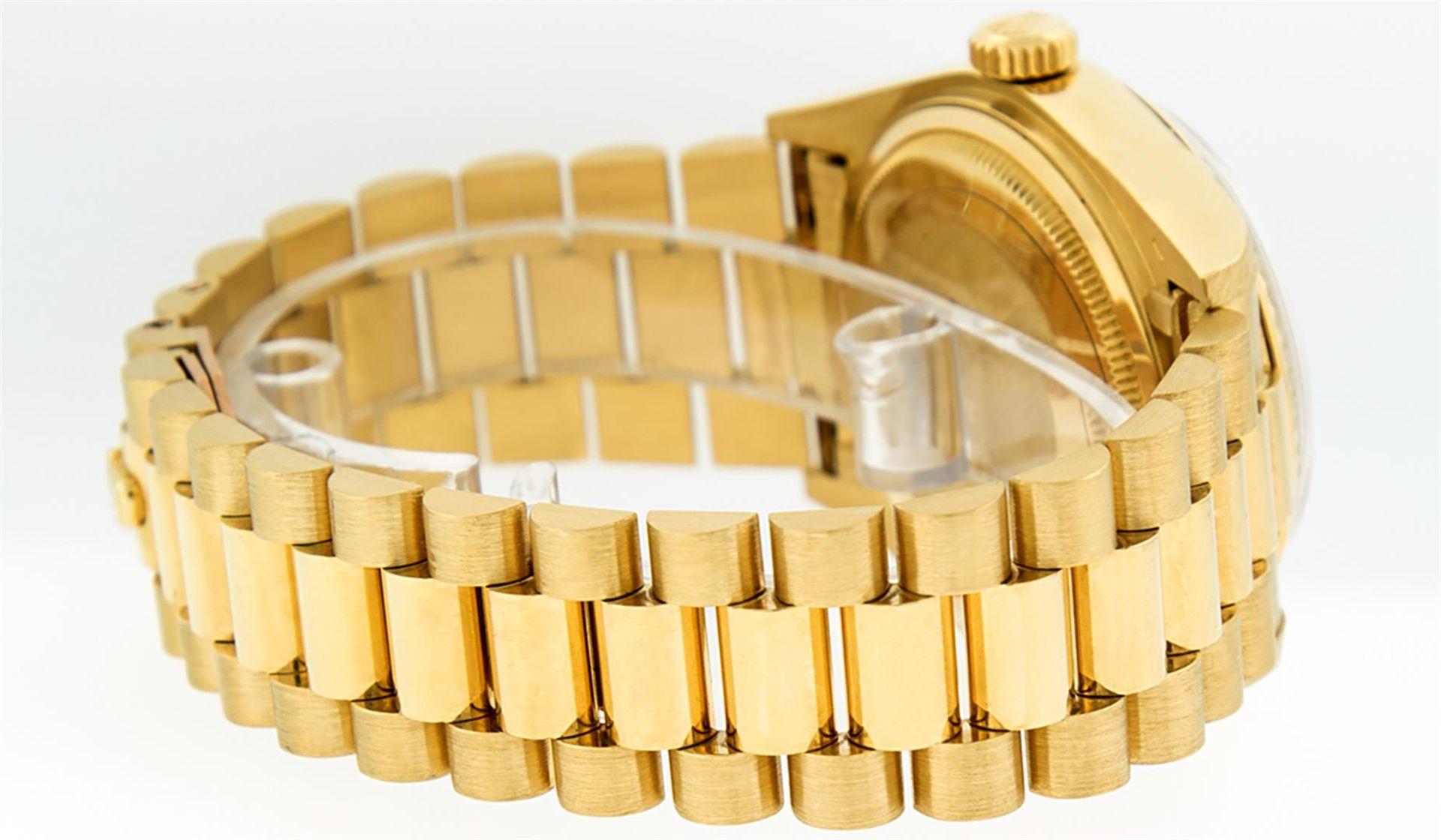 Rolex Mens 18K Yellow Gold Blue Vignette Diamond Quickset President Wristwatch W - Image 3 of 9