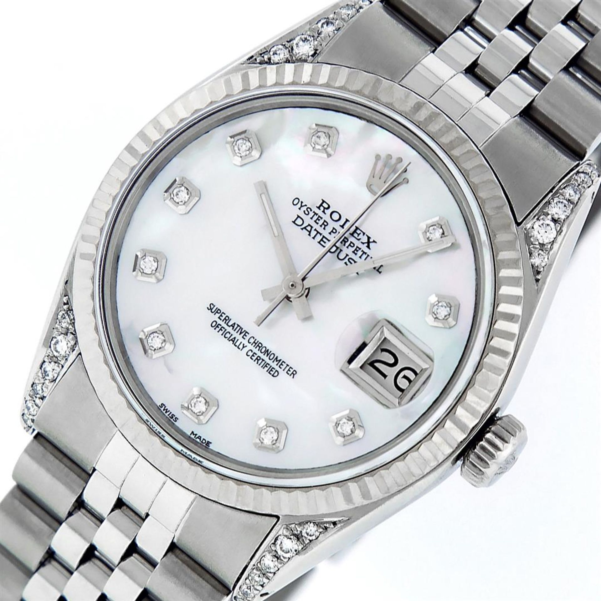 Rolex Mens Stainless Steel Mother Of Pearl Diamond Lugs 36MM Datejust Wristwatch - Image 2 of 8