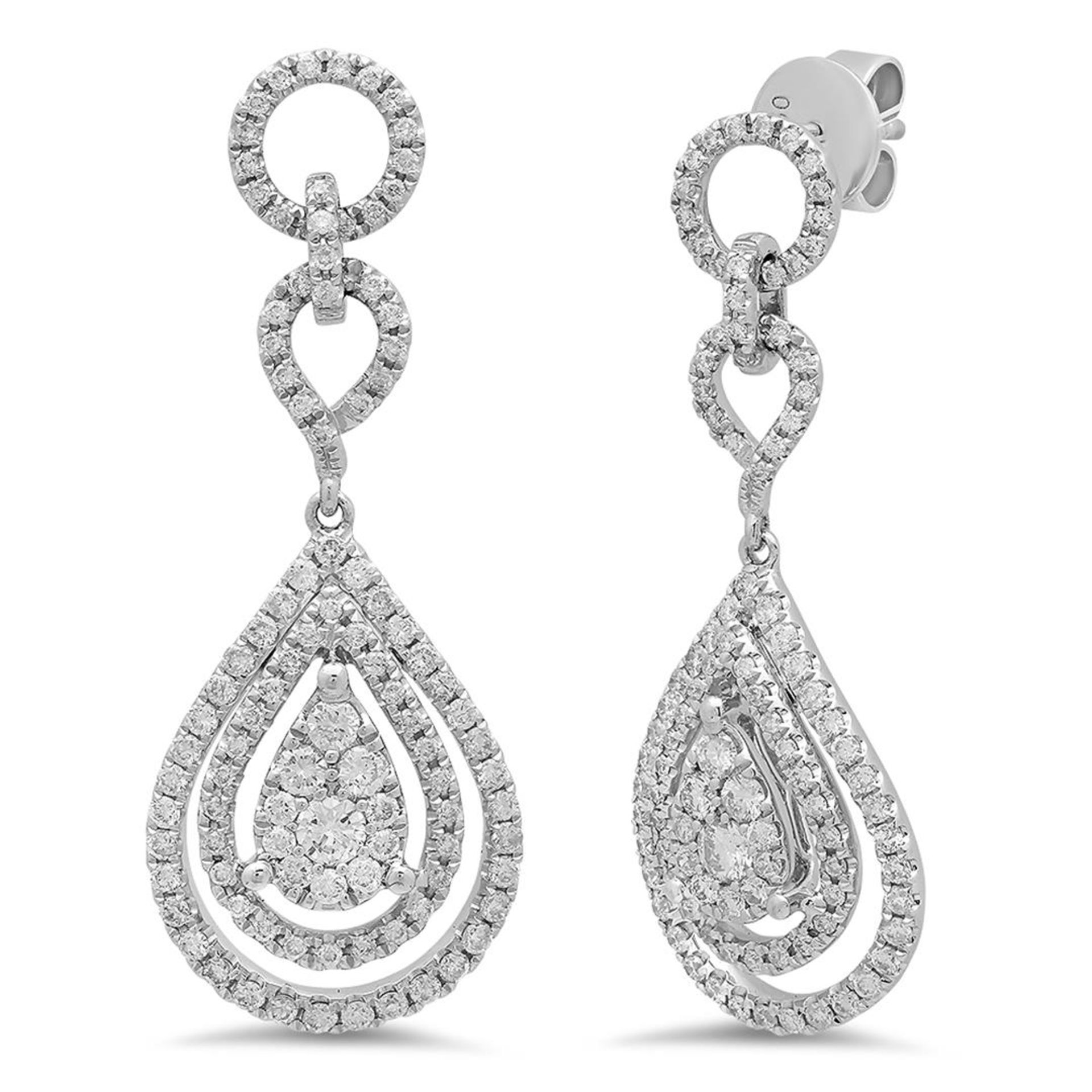 18k White Gold 1.24CTW Diamond Earrings, (SI1-SI2/G-H)