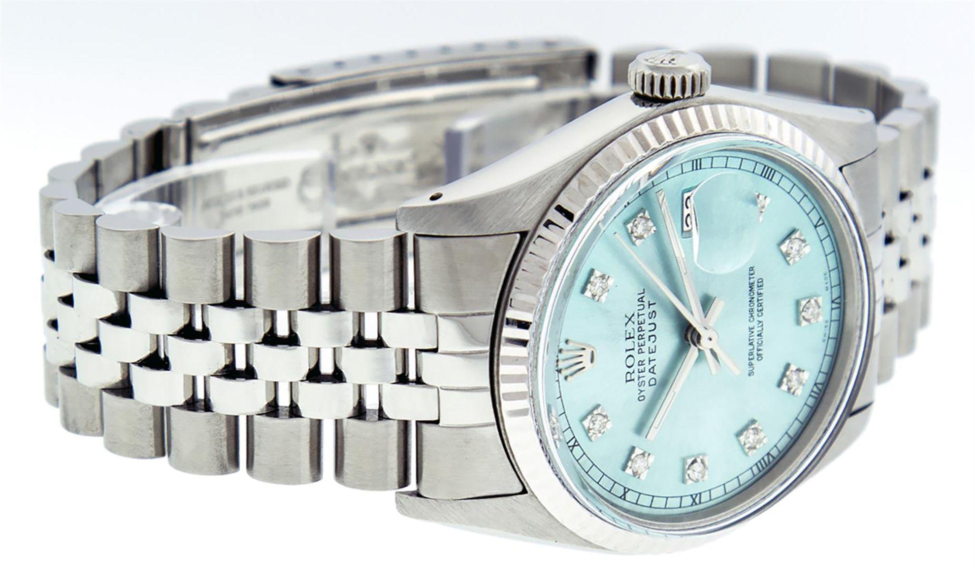 Rolex Mens Stainless Steel Ice Blue Diamond Datejust Wristwatch - Image 4 of 9