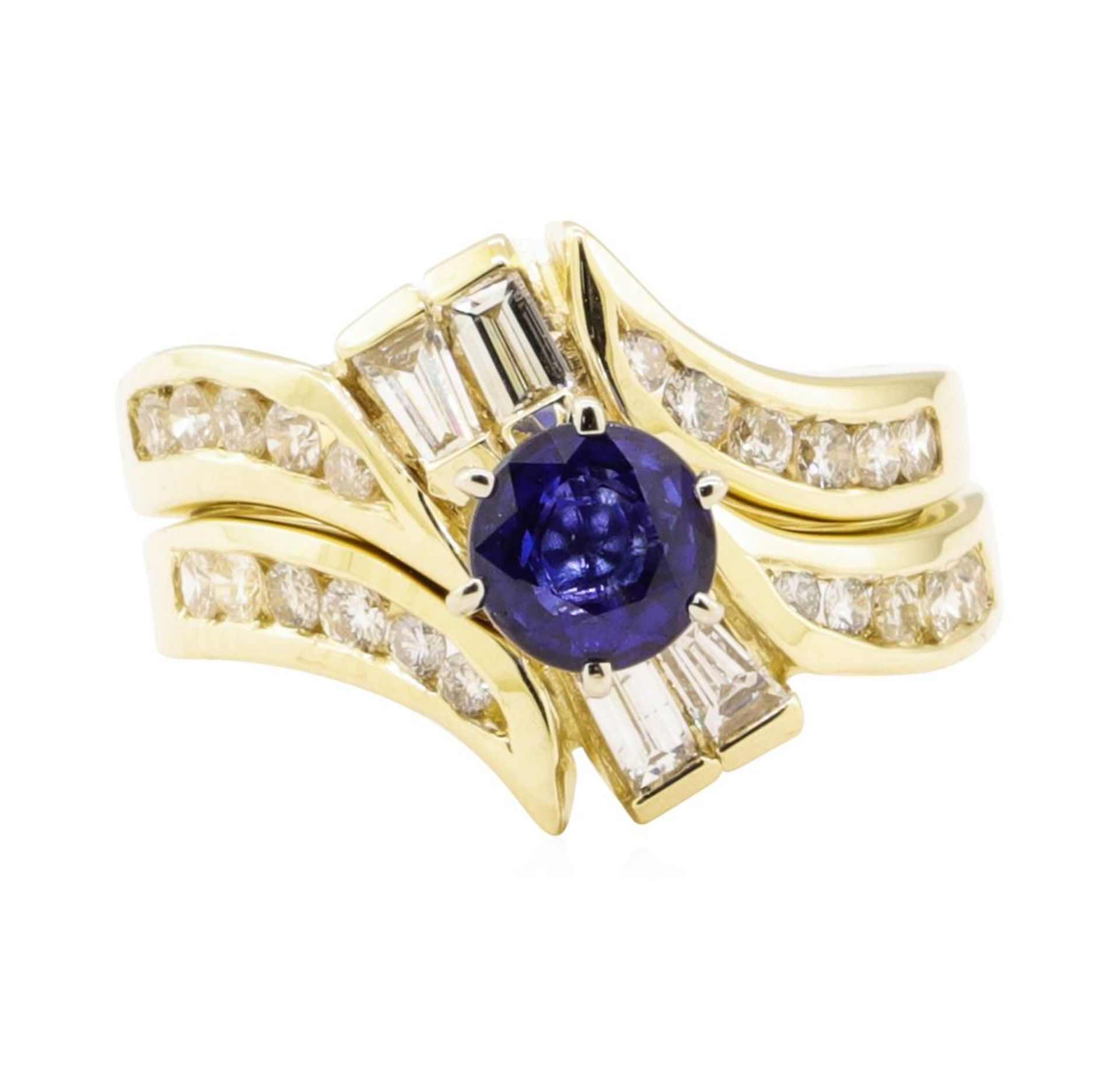 1.61 ctw Blue Sapphire And Diamond Ring And Band - 14KT Yellow Gold - Image 2 of 4