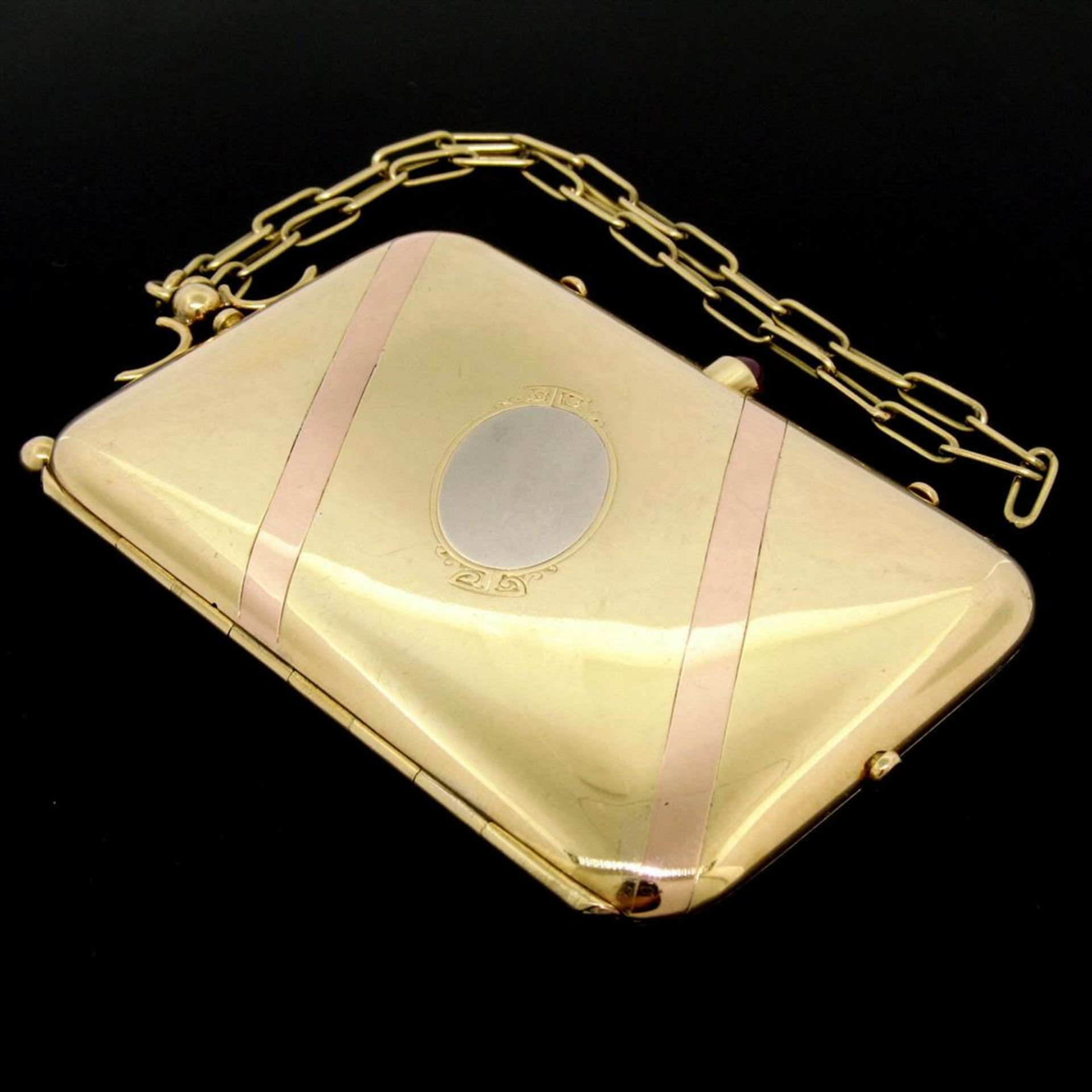 Vintage BOUCHERON Paris 18k Tri Color Gold Ruby Compact Powder Case