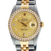 Rolex Mens 2 Tone Champagne Diamond 36MM Datejust Wriswatch