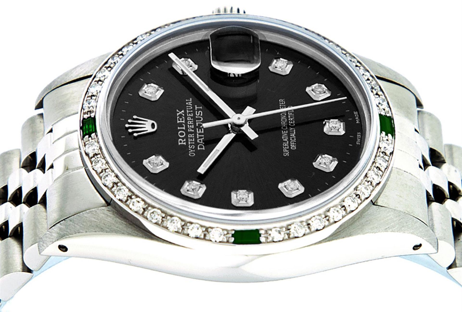 Rolex Mens Stainless Steel Black Diamond & Emerald Oyster Perpetual Datejust Wri - Image 3 of 9