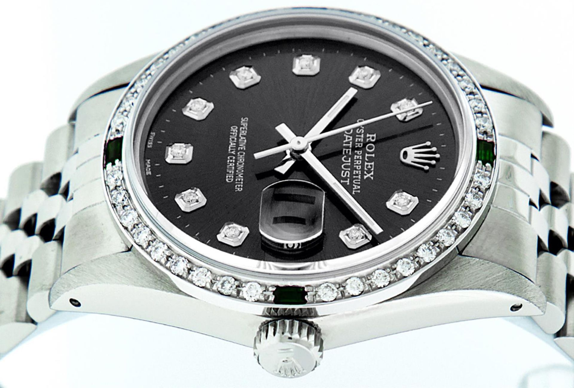 Rolex Mens Stainless Steel Black Diamond & Emerald Oyster Perpetual Datejust Wri - Image 4 of 9