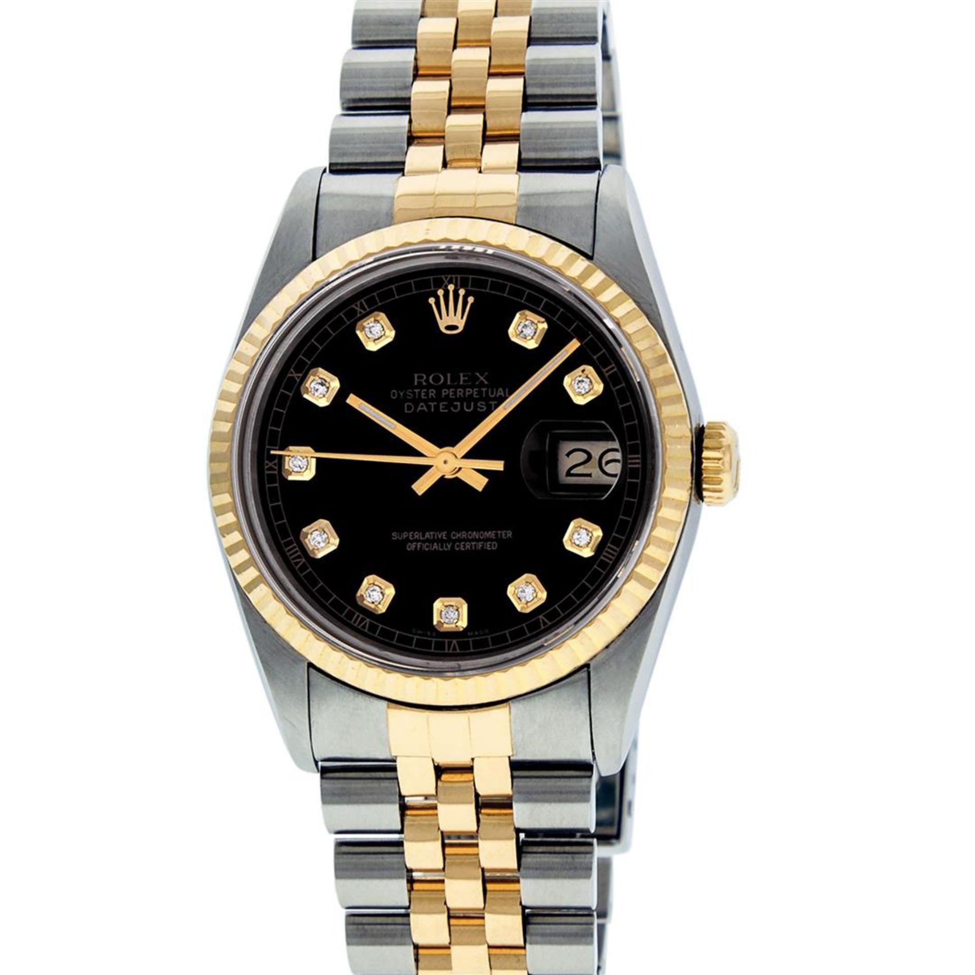 Rolex Mens 2 Tone Black Diamond 36MM Datejust Wristwatch - Image 2 of 9