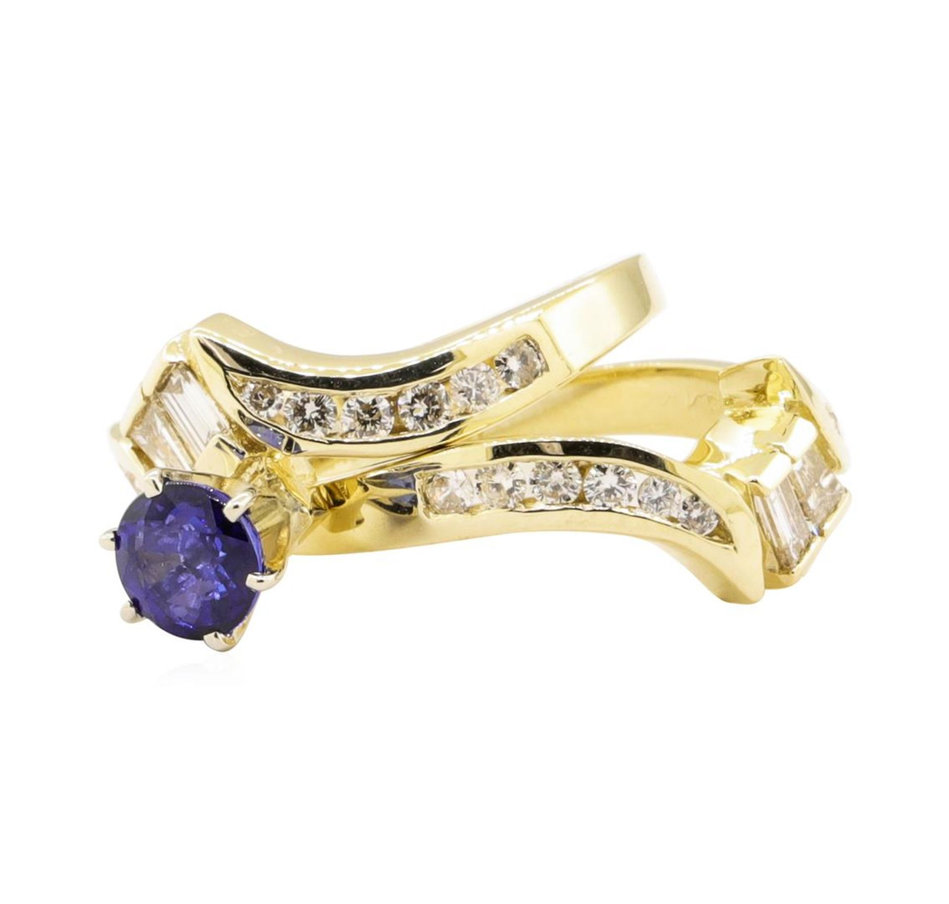1.61 ctw Blue Sapphire And Diamond Ring And Band - 14KT Yellow Gold - Image 3 of 4