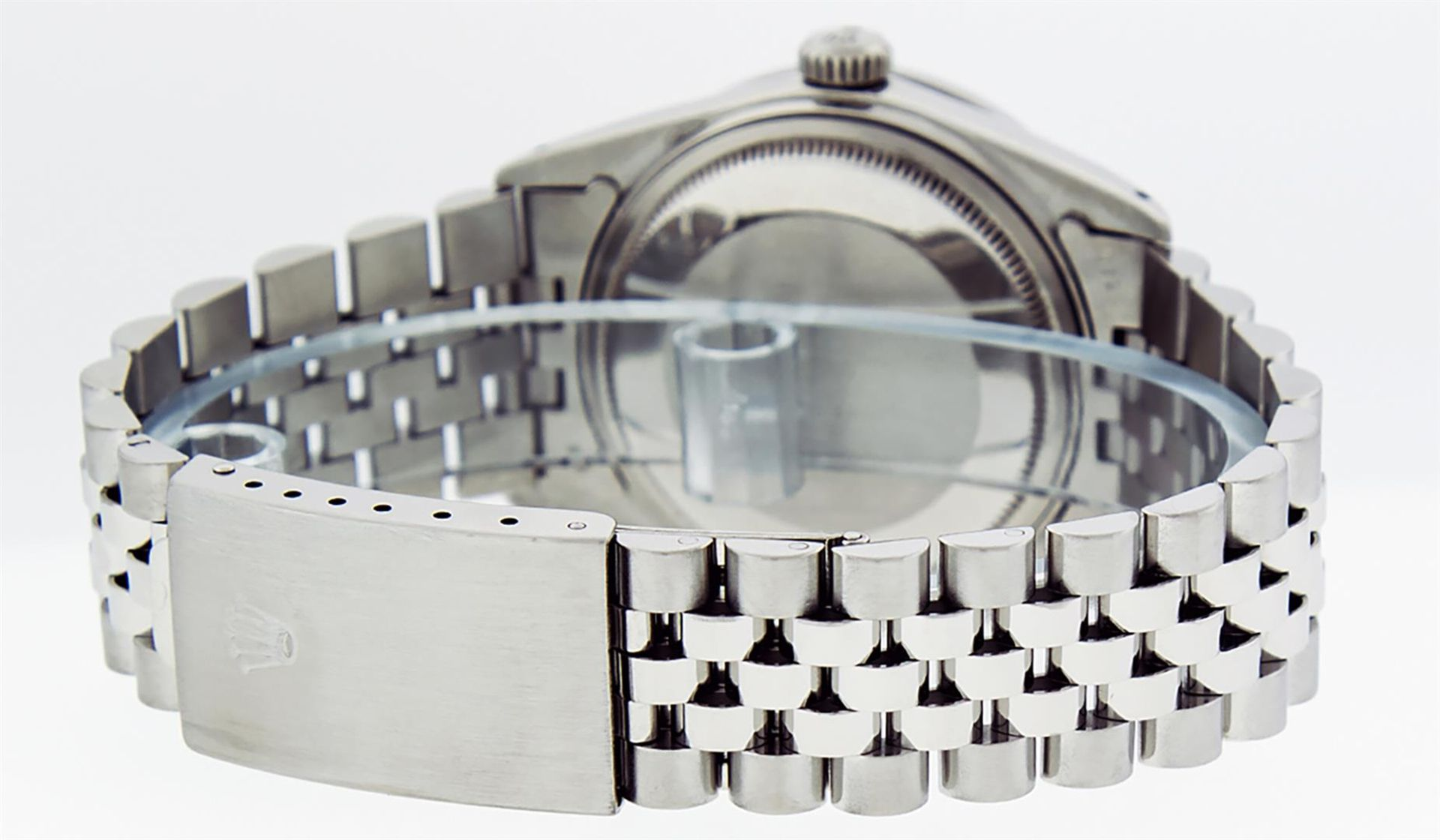 Rolex Mens Stainless Steel Mother Of Pearl Diamond & Sapphire Datejust Wristwatc - Image 4 of 8