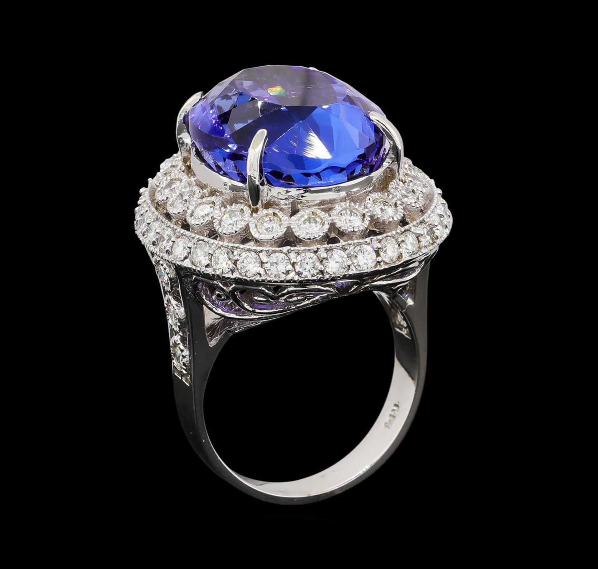 GIA Cert 19.95 ctw Tanzanite and Diamond Ring - 14KT White Gold - Image 4 of 6