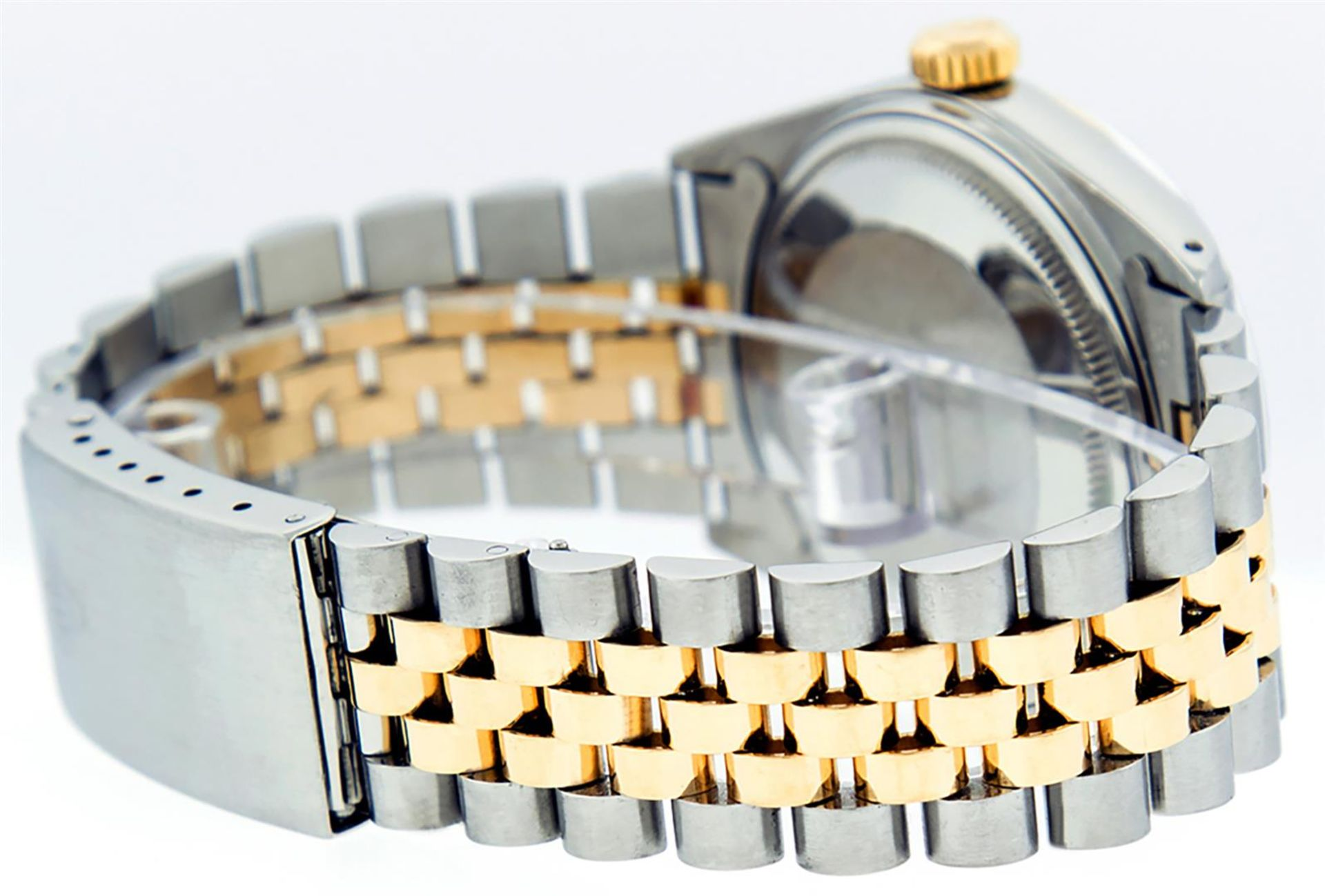 Rolex Mens 2 Tone Black Diamond 36MM Datejust Wristwatch - Image 3 of 9