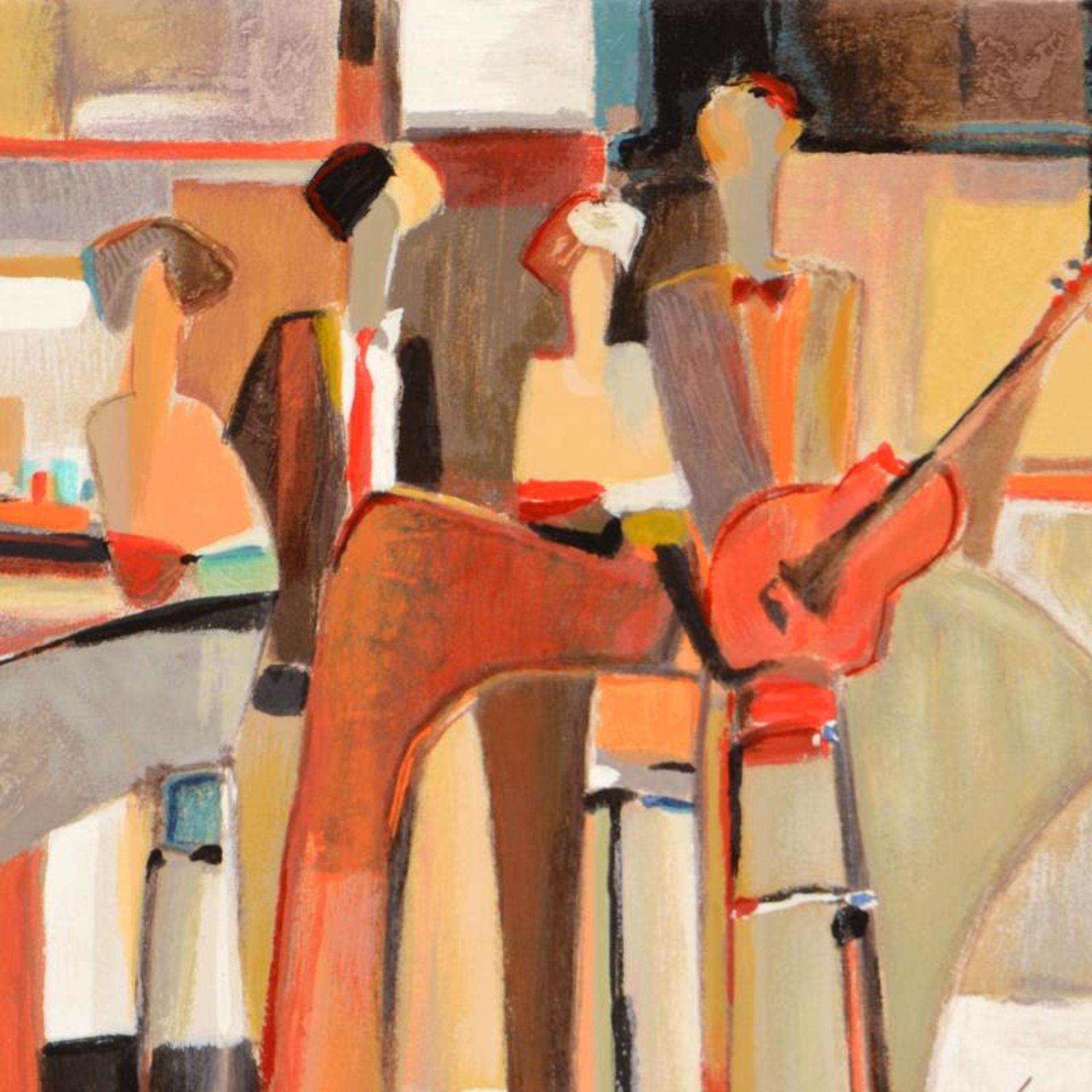 "Yuri Tremler, ""Music at the Bar "" Limited Edition Serigraph by Yuri Tremler, Han - Image 2 of 2"