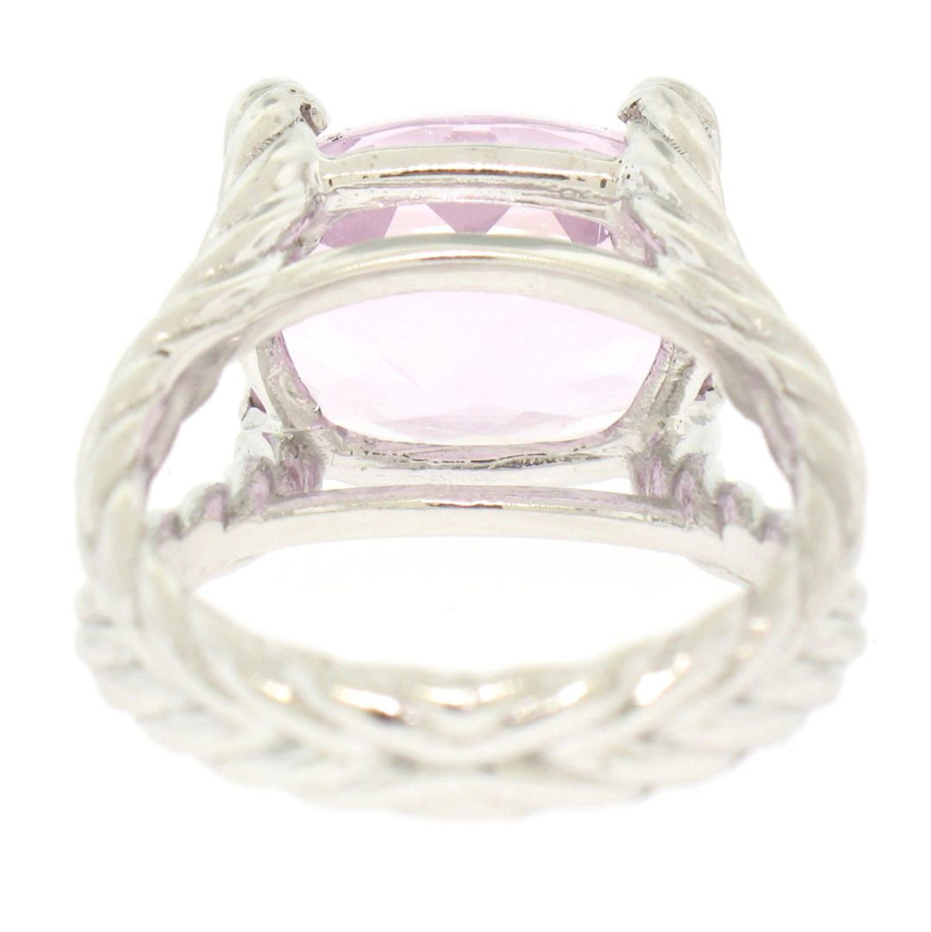 14k White Gold Twisted Cable 8.5 ctw Oval Kunzite Solitaire Ring 4 Diamond Accen - Image 4 of 8