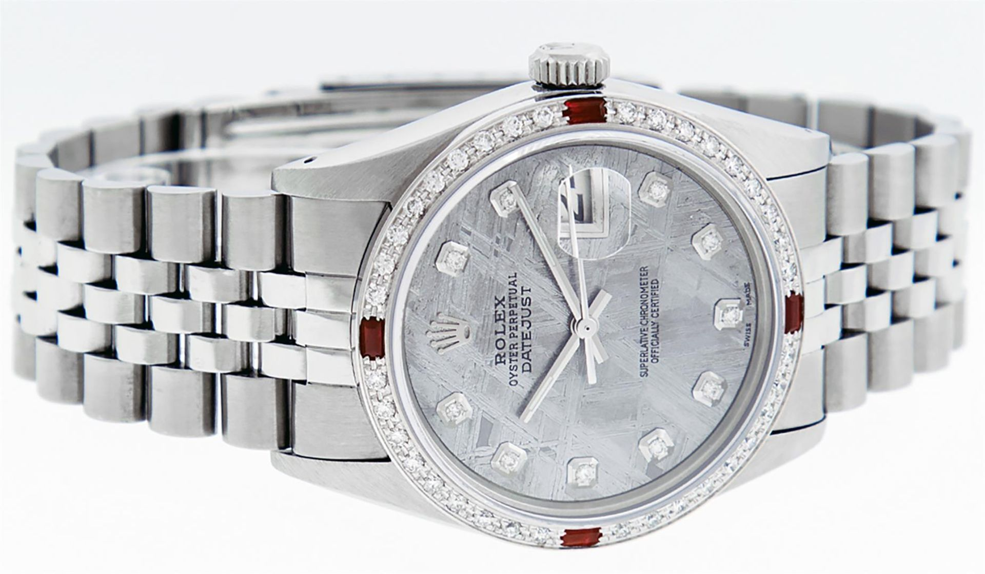 Rolex Mens Stainless Steel Meteorite Diamond And Ruby Datejust Wristwatch 36MM - Image 3 of 9