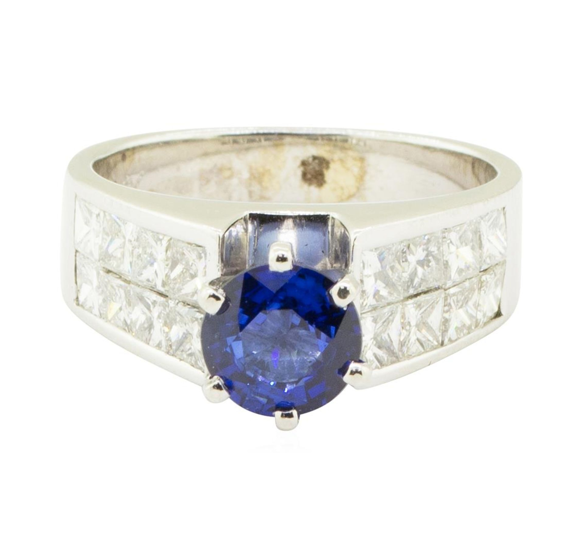 3.15 ctw Round Brilliant Blue Sapphire And Diamond Ring - 14KT White Gold - Image 2 of 5