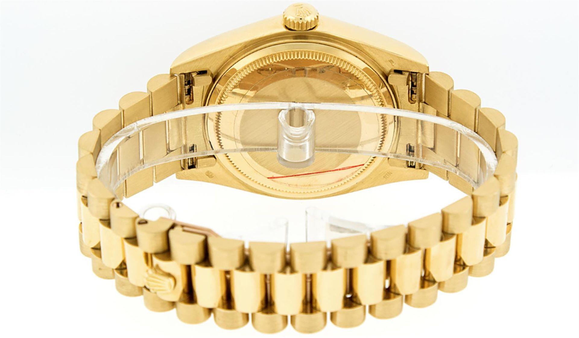 Rolex Mens 18K Yellow Gold Blue Vignette Diamond Quickset President Wristwatch W - Image 5 of 9