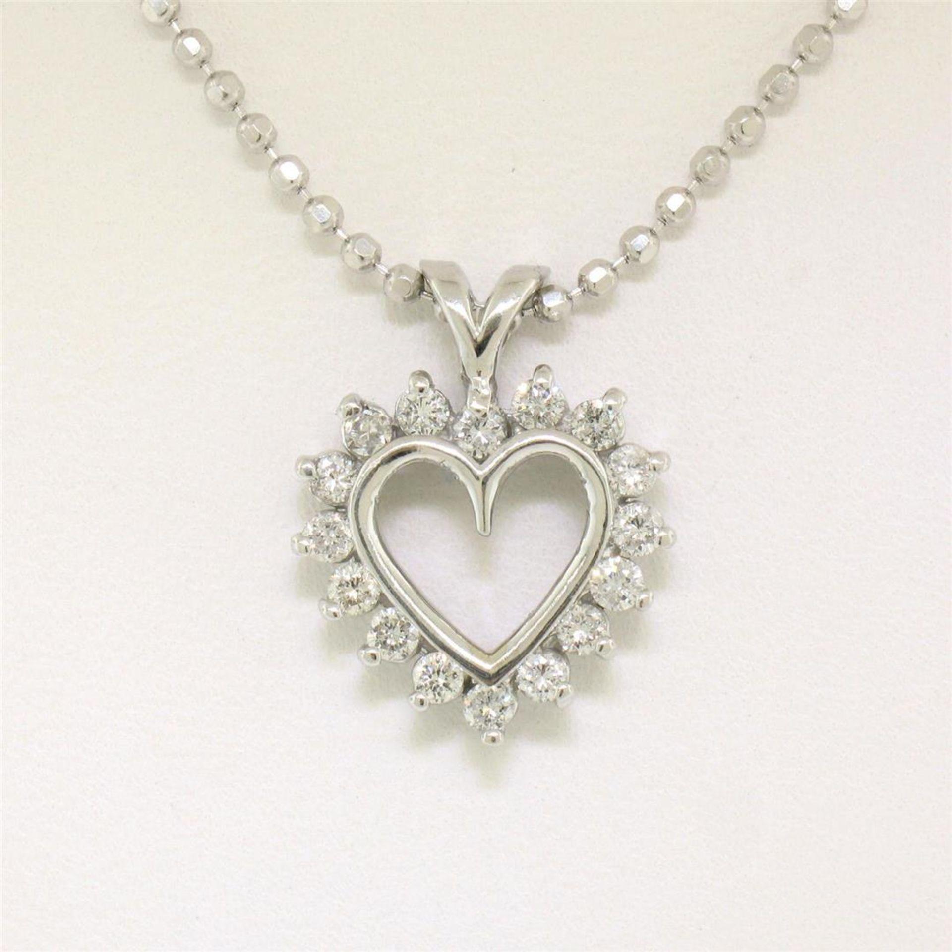 "14k White Gold 0.40 ctw Round Brilliant Diamond Open Heart Pendant 18"" Bead Chai - Image 3 of 7"