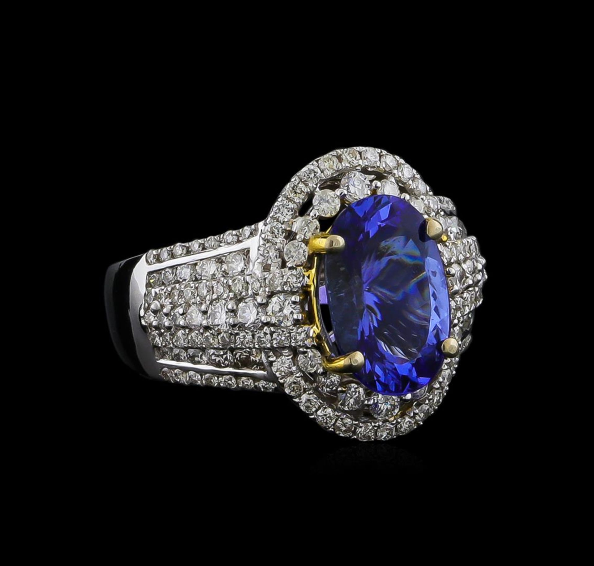 14KT Two-Tone Gold 4.12 ctw Tanzanite and Diamond Ring
