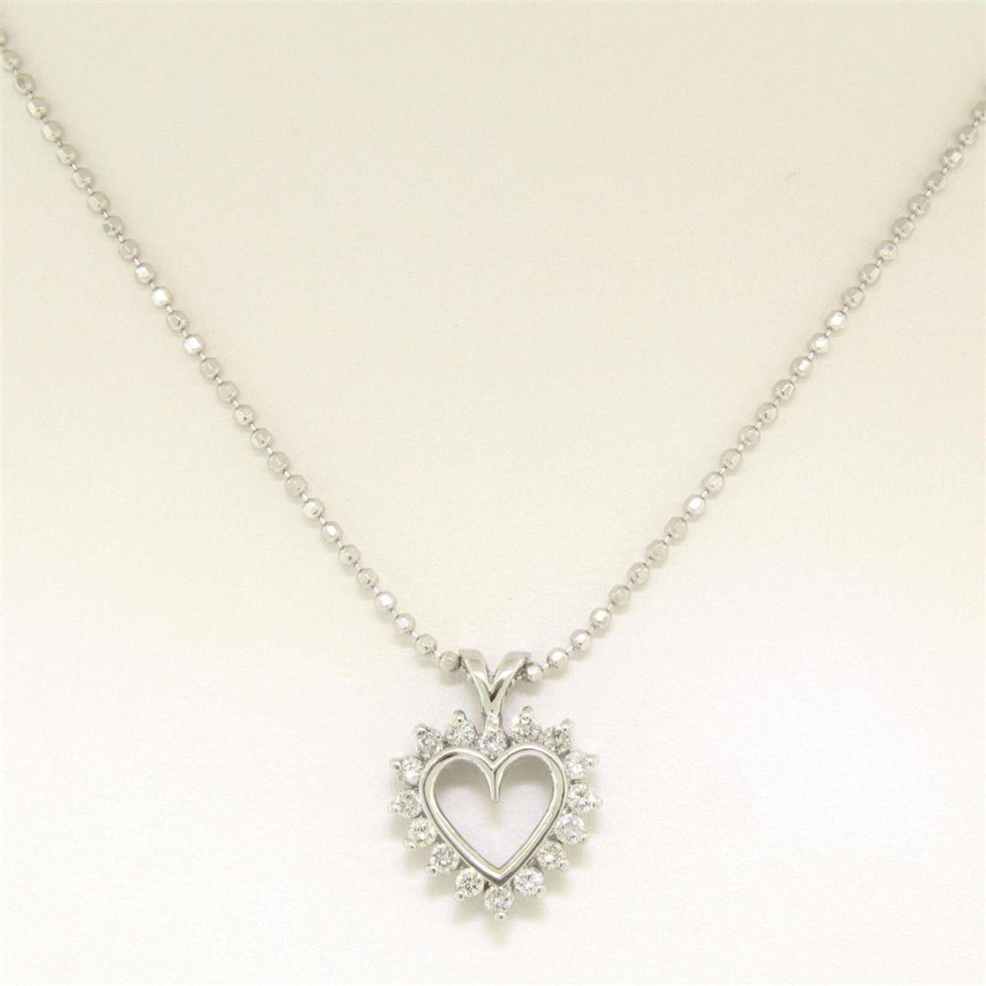 "14k White Gold 0.40 ctw Round Brilliant Diamond Open Heart Pendant 18"" Bead Chai - Image 4 of 7"