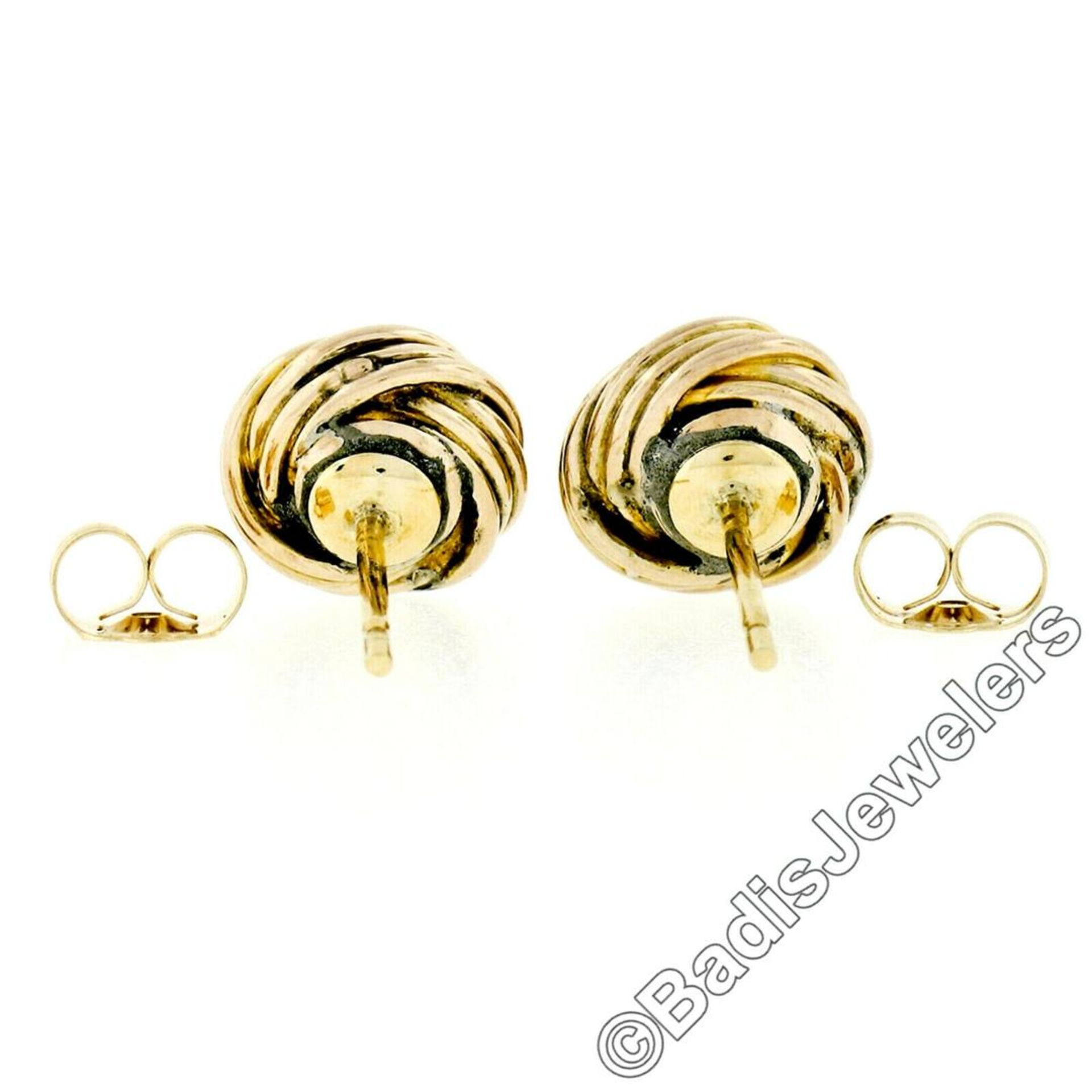 Victorian 14kt Yellow Gold 0.36 ctw Old Mine Cut Diamond Love Knot Stud Earrings - Image 5 of 5