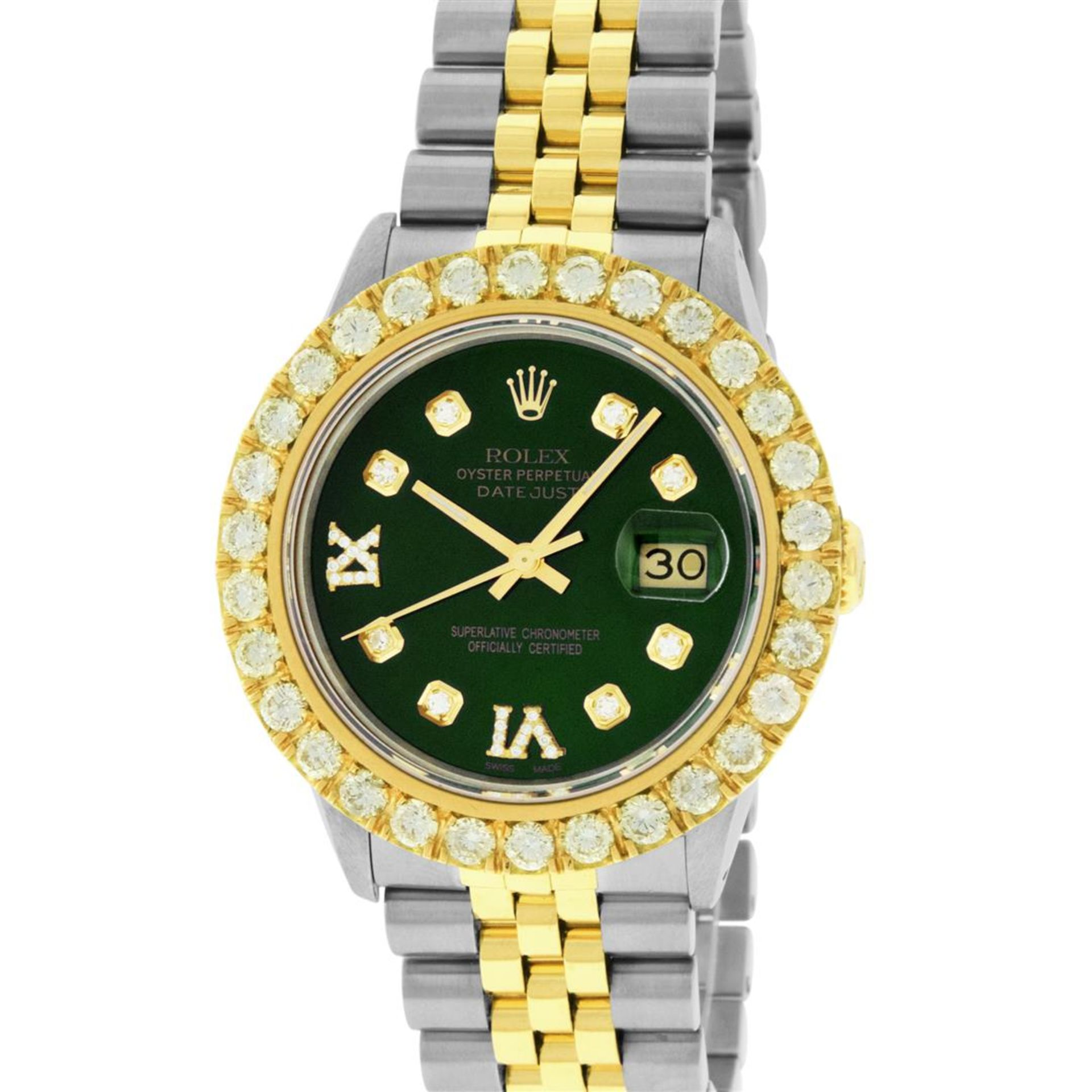 Rolex Mens 2 Tone Green VS 4 ctw Beadset Diamond Datejust Wristwatch with Rolex - Image 2 of 9
