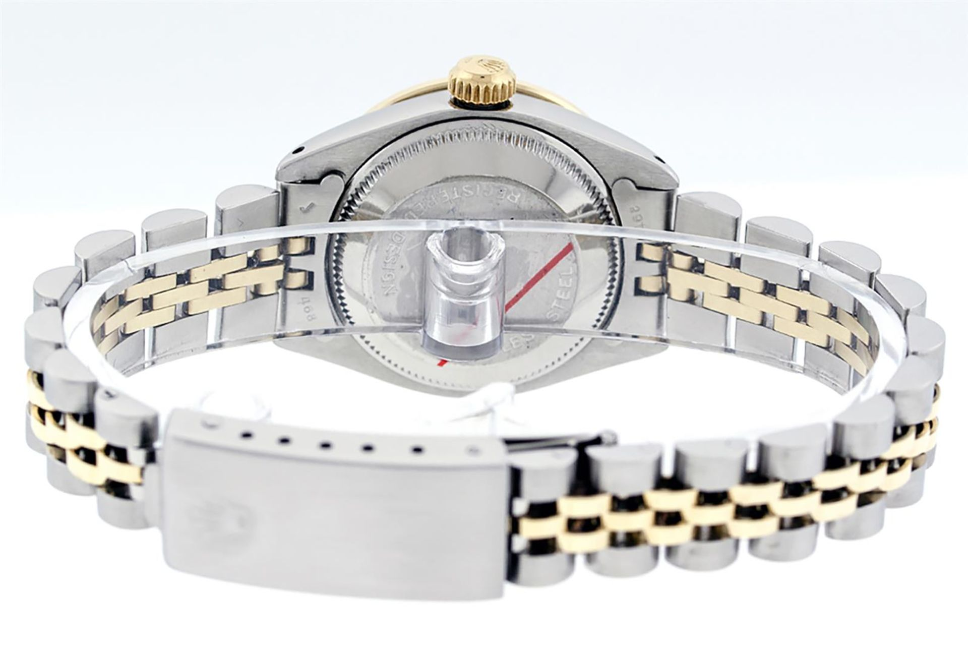 Rolex Ladies 2T 26 MOP Diamond & Sapphire Oyster Perpetual Datejust Serviced - Image 8 of 9