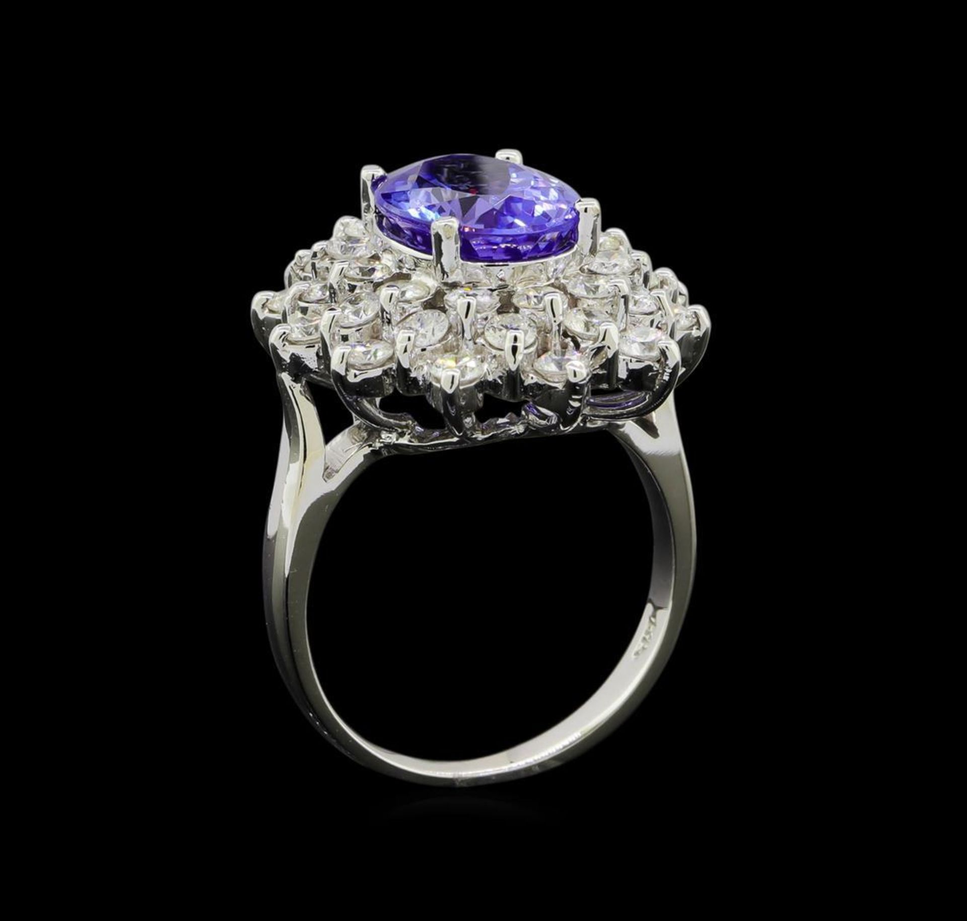 3.90 ctw Tanzanite and Diamond Ring - 14KT White Gold - Image 4 of 5