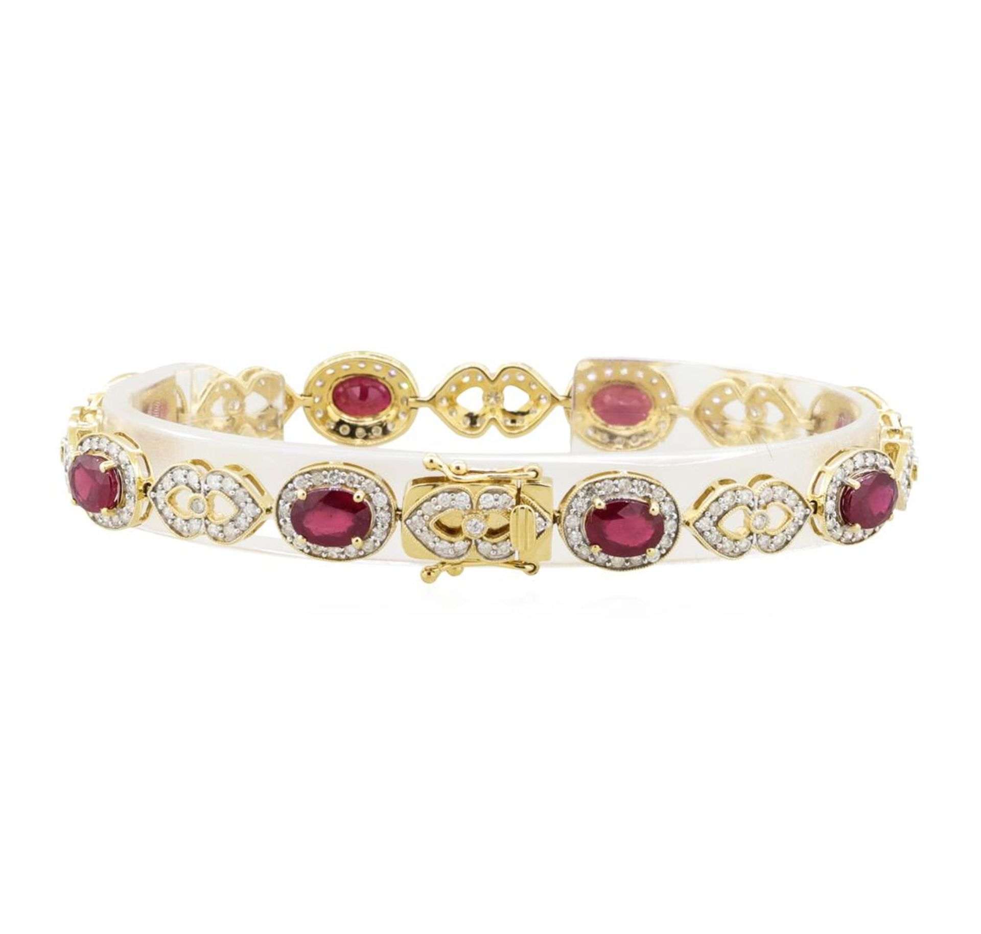 9.32 ctw Ruby and Diamond Bracelet - 14KT Yellow Gold - Image 2 of 3
