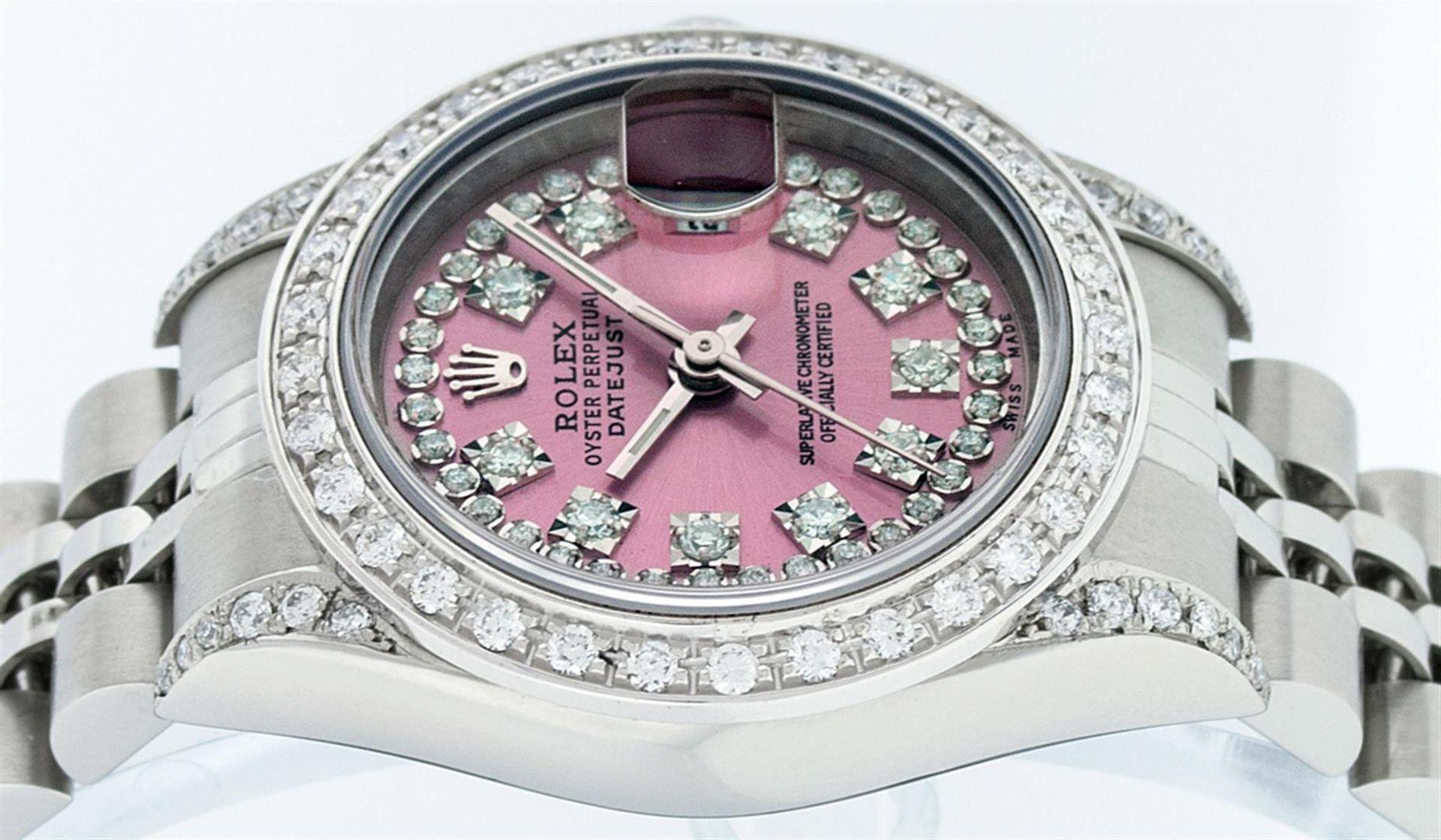 Rolex Ladies Stainless Steel Quickset Pink String Diamond Lugs Datejust Wristwat - Image 3 of 9