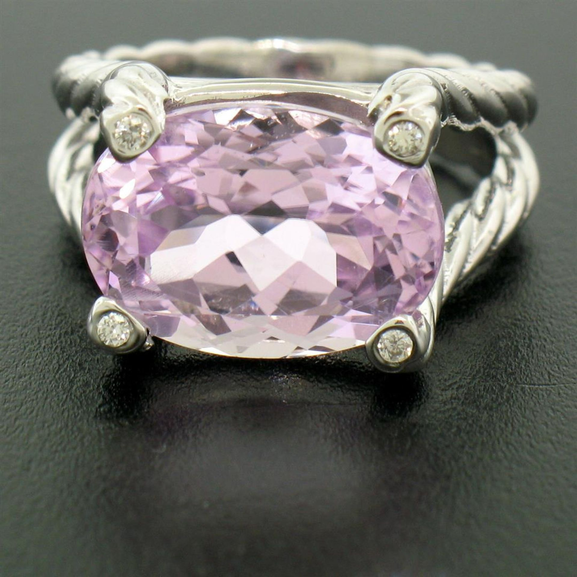 14k White Gold Twisted Cable 8.5 ctw Oval Kunzite Solitaire Ring 4 Diamond Accen - Image 6 of 8