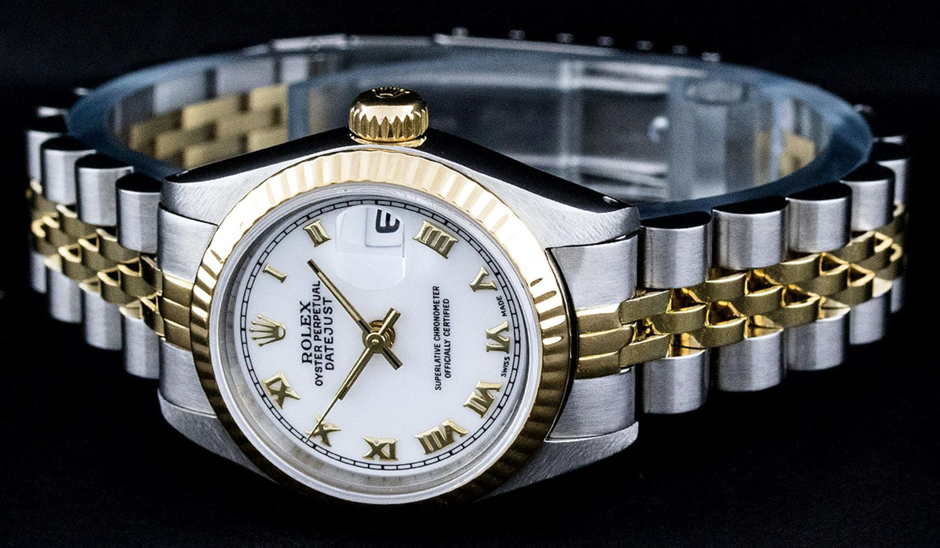 Rolex Ladies 2 Tone Yellow Gold & Stainless Steel White Roman 26MM Datejust - Image 2 of 9
