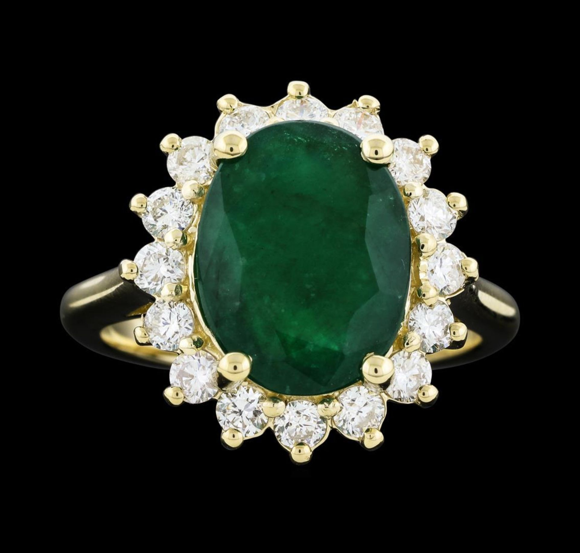 4.52 ctw Emerald and Diamond Ring - 14KT Yellow Gold - Image 2 of 5