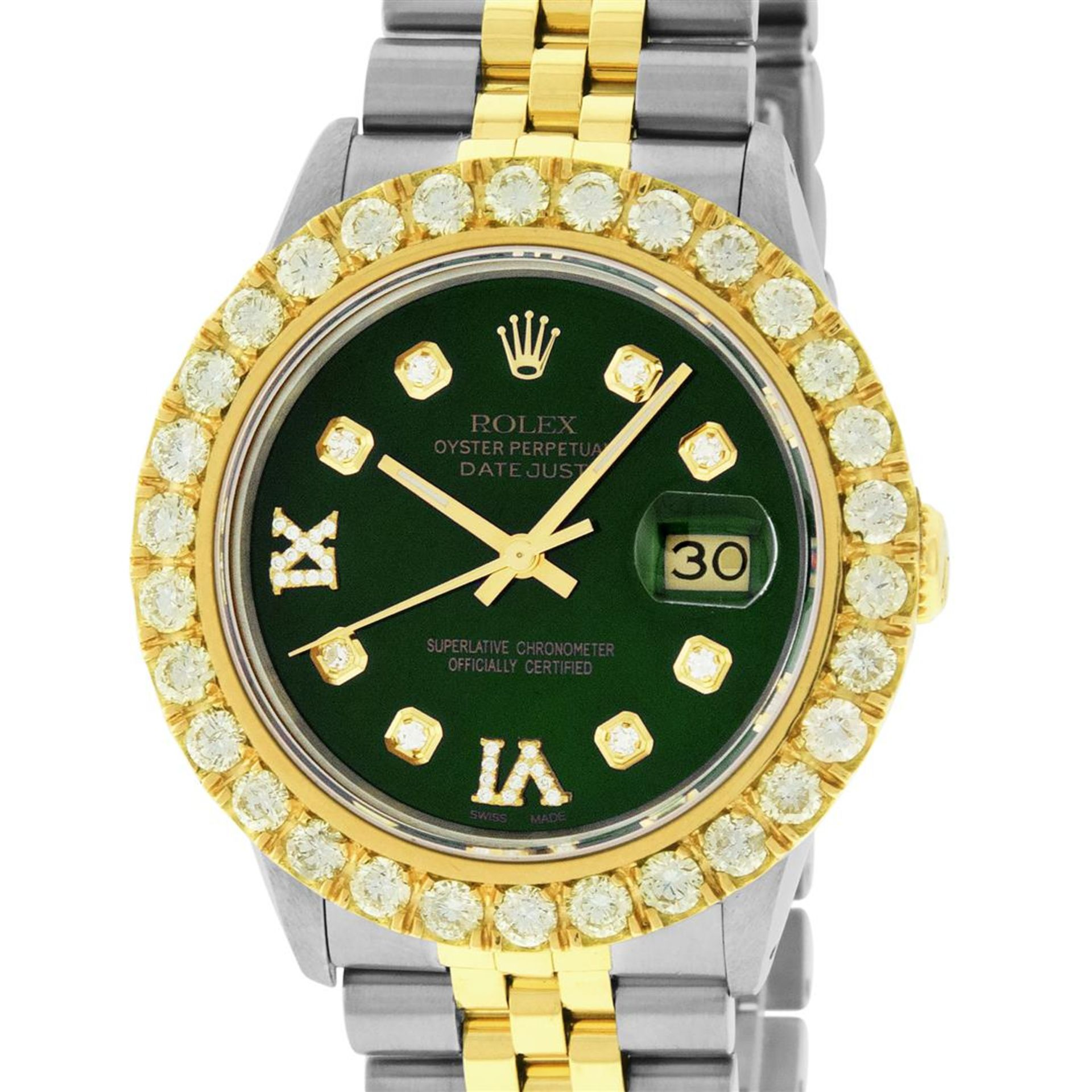 Rolex Mens 2 Tone Green VS 4 ctw Beadset Diamond Datejust Wristwatch with Rolex