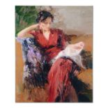"""Pino (1939-2010), """"Resting Time"""" Artist Embellished Limited Edition on Canvas, A"""