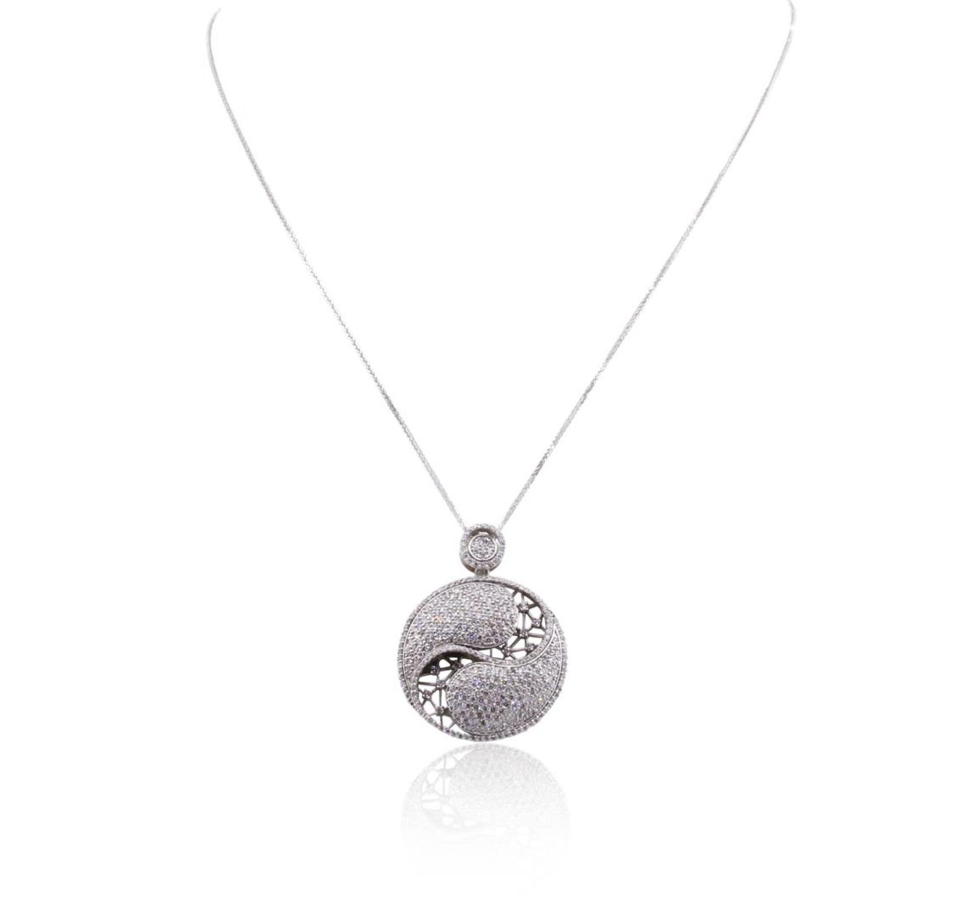 14KT White Gold 3.88 ctw Diamond Pendant With Chain - Image 2 of 3
