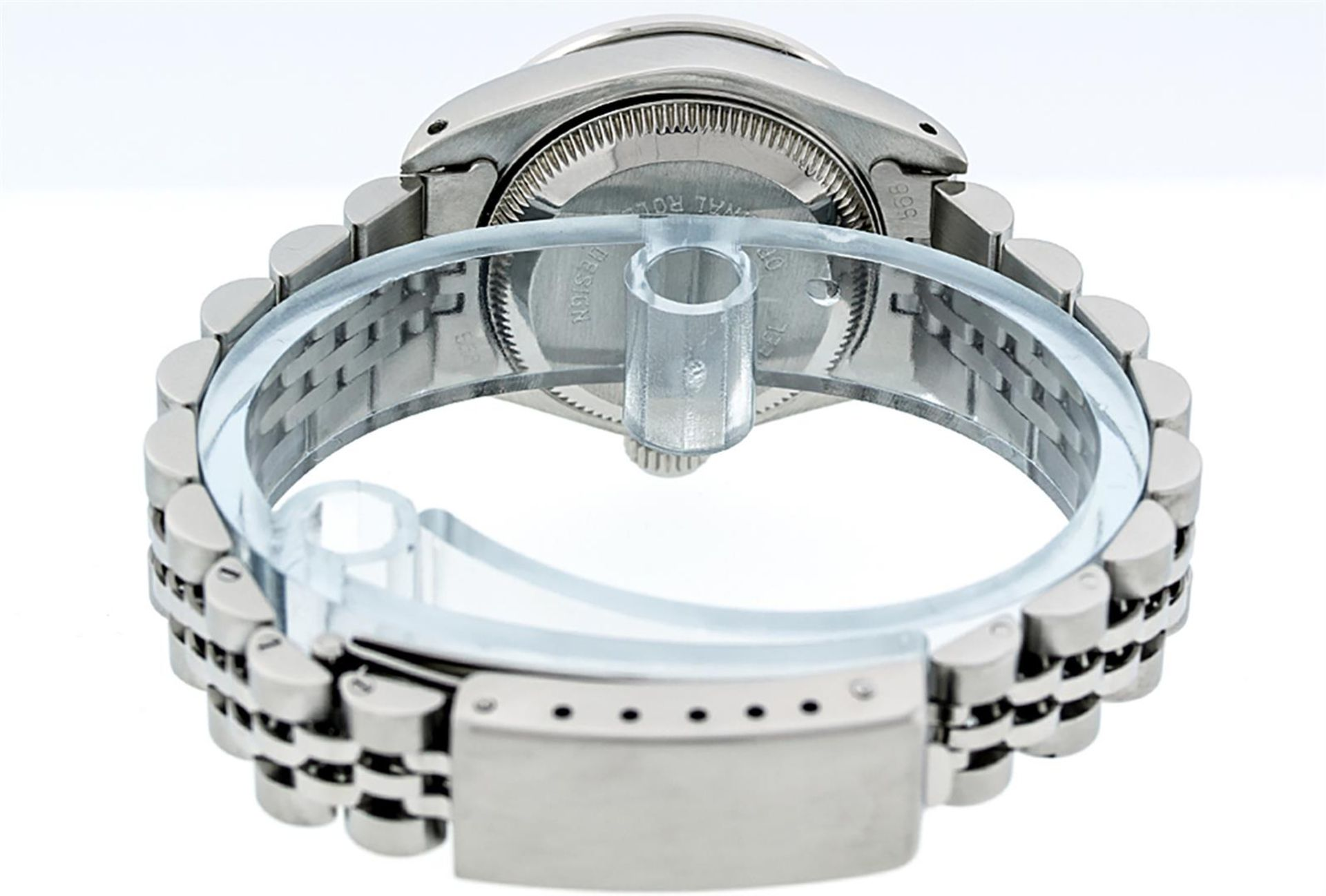 Rolex Ladies Stainless Steel 26MM Black String Diamond Lugs Datejust Wristwatch - Image 7 of 9