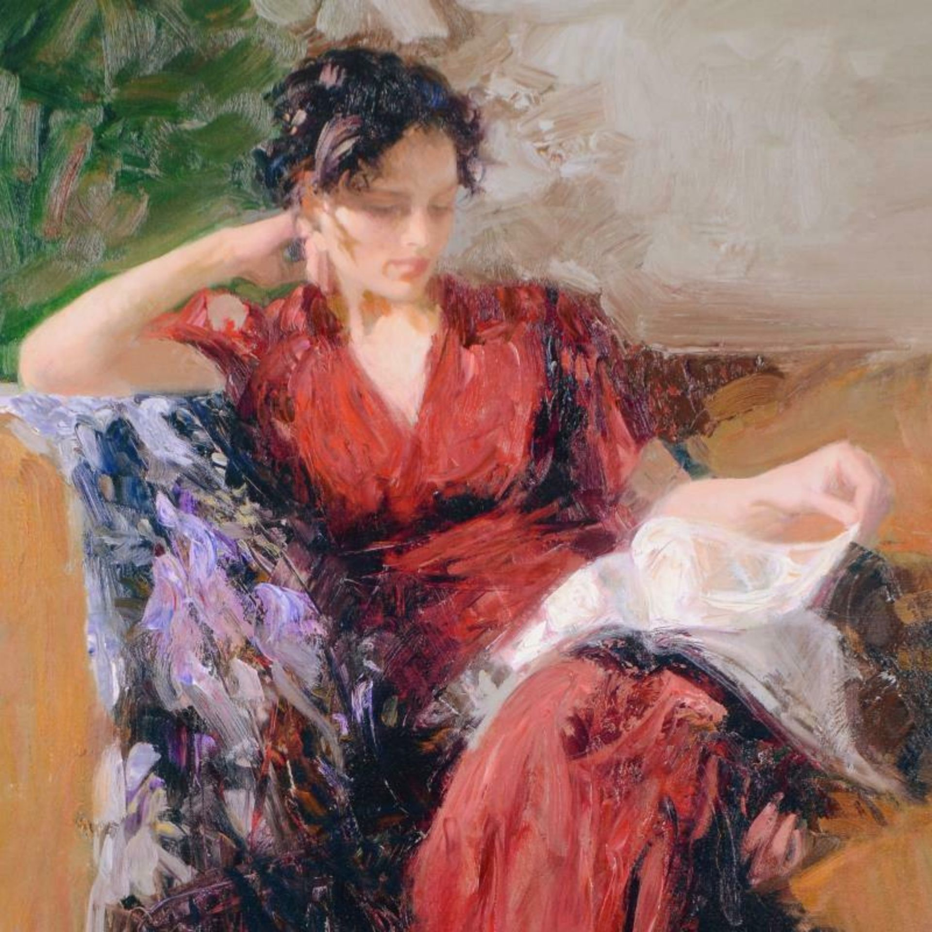 """Pino (1939-2010), """"Resting Time"""" Artist Embellished Limited Edition on Canvas, A - Image 2 of 2"""