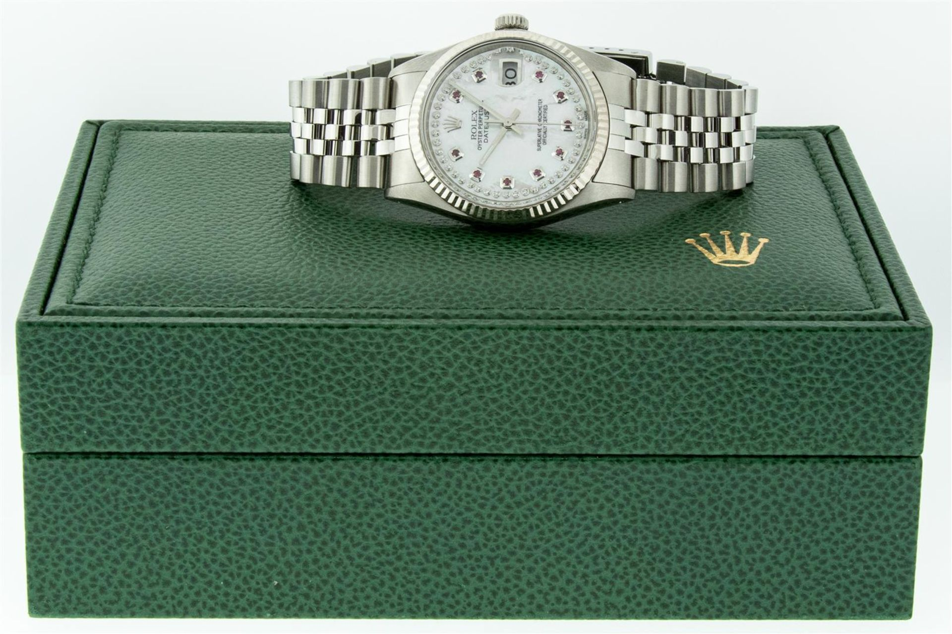 Rolex Mens Stainless Steel Mother Of Pearl Diamond & Ruby Datejust Wristwatch Wi - Image 6 of 8