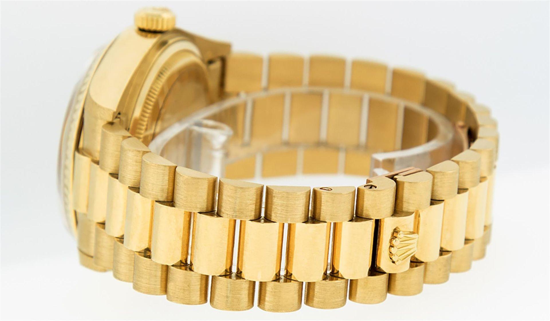 Rolex Mens 18K Yellow Gold Blue Vignette Diamond Quickset President Wristwatch W - Image 8 of 9