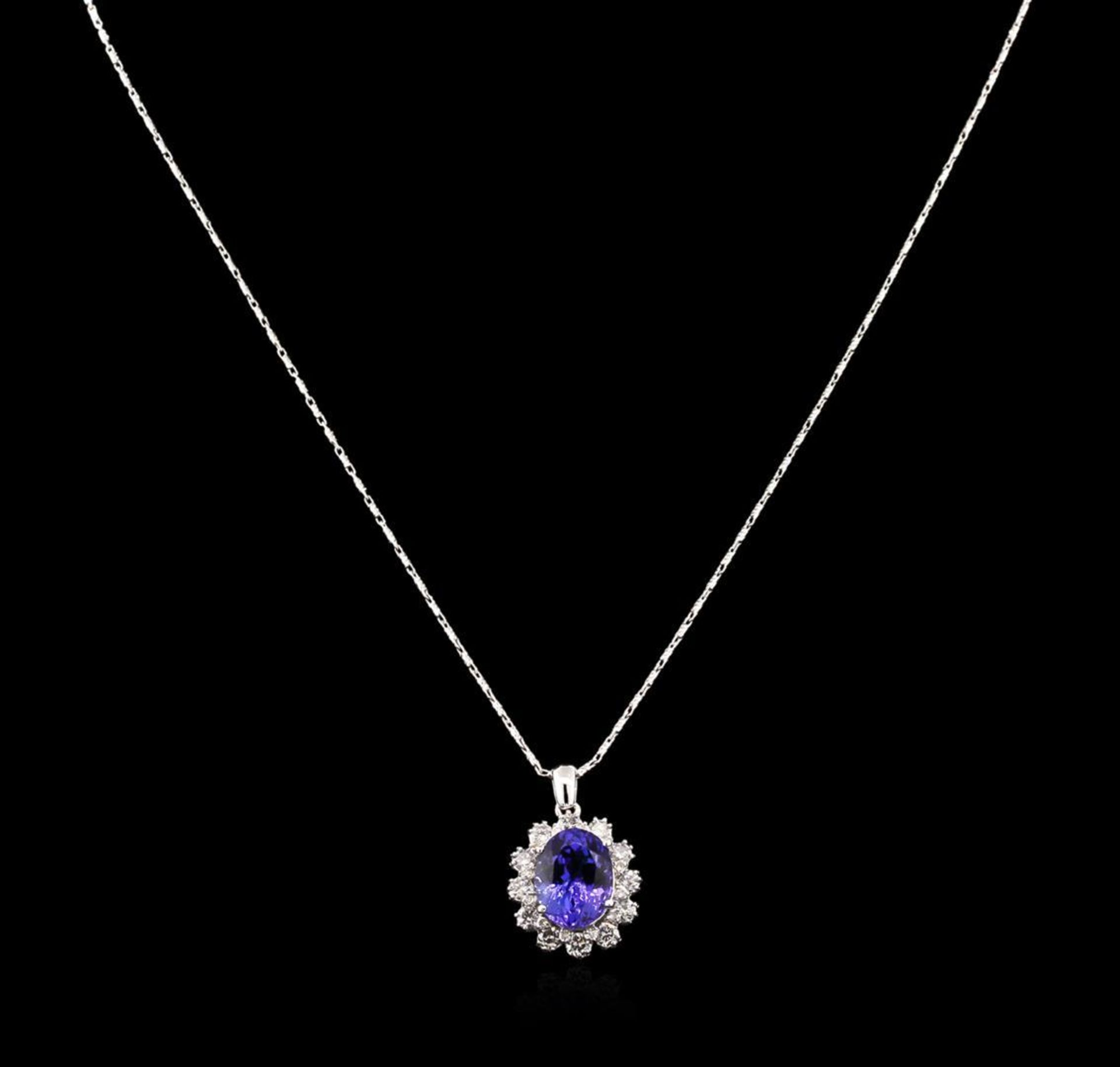 4.80 ctw Tanzanite and Diamond Pendant With Chain - 14KT White Gold - Image 2 of 3