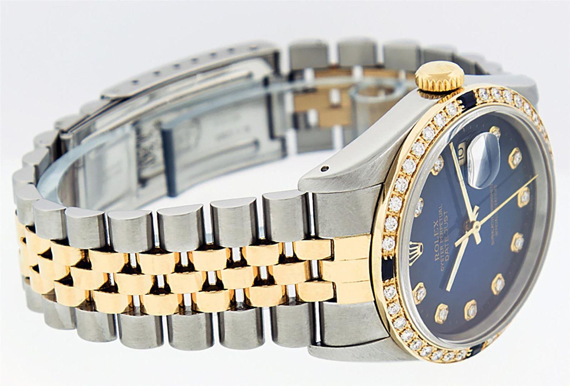 Rolex Mens 2 Tone Blue Vignette Diamond & Sapphire Datejust Wristwatch - Image 5 of 9