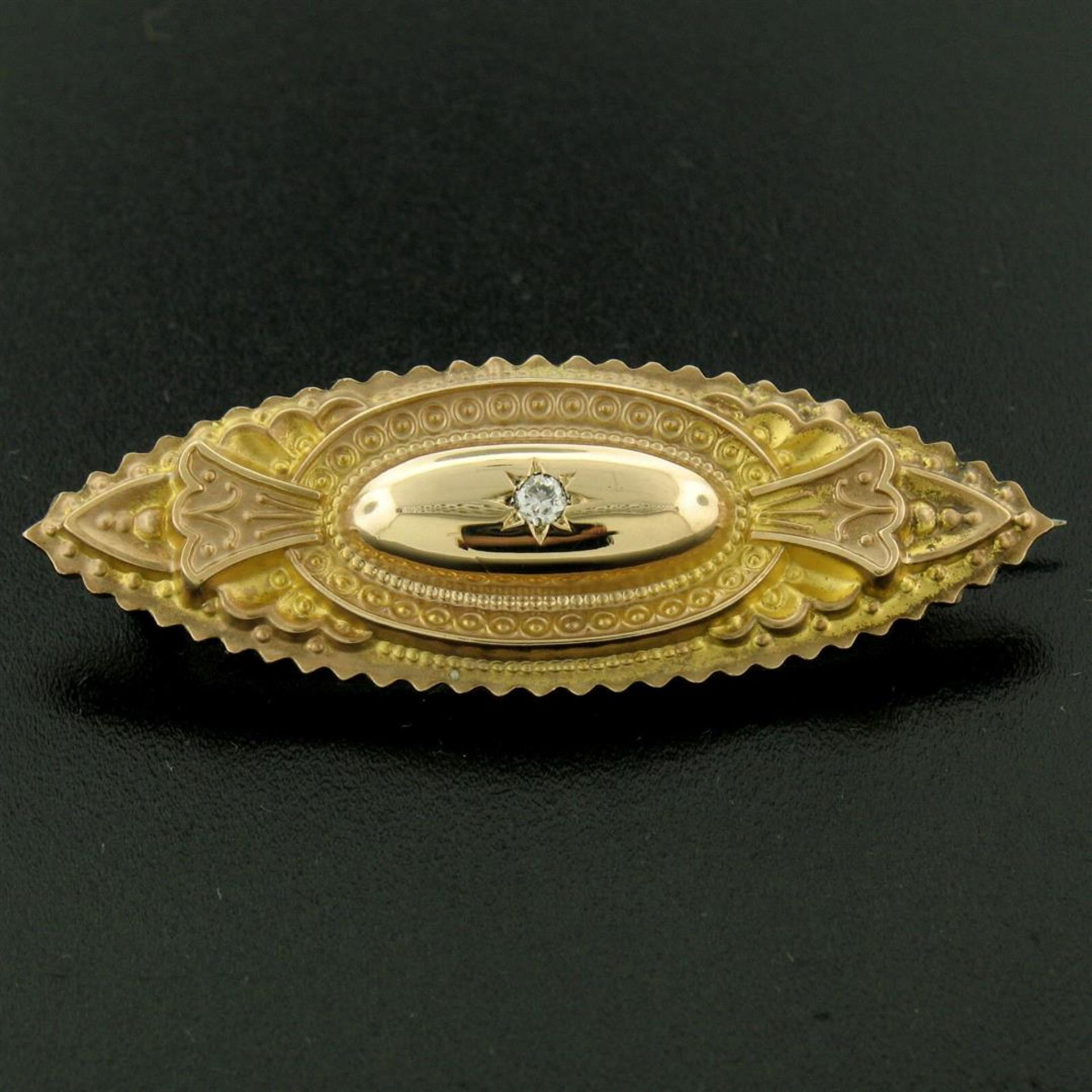 9k Yellow Gold .10 ctw Diamond Marquise Shaped Etched Brooch Pin - Image 2 of 9