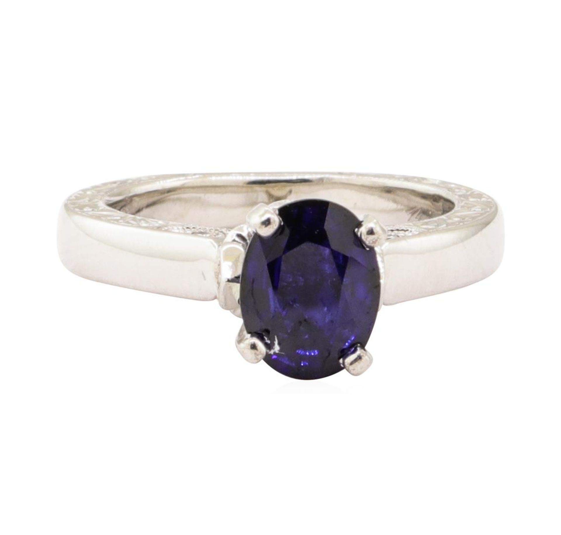 1.66 ctw Blue Sapphire and Diamond Ring - 14KT White Gold - Image 2 of 4