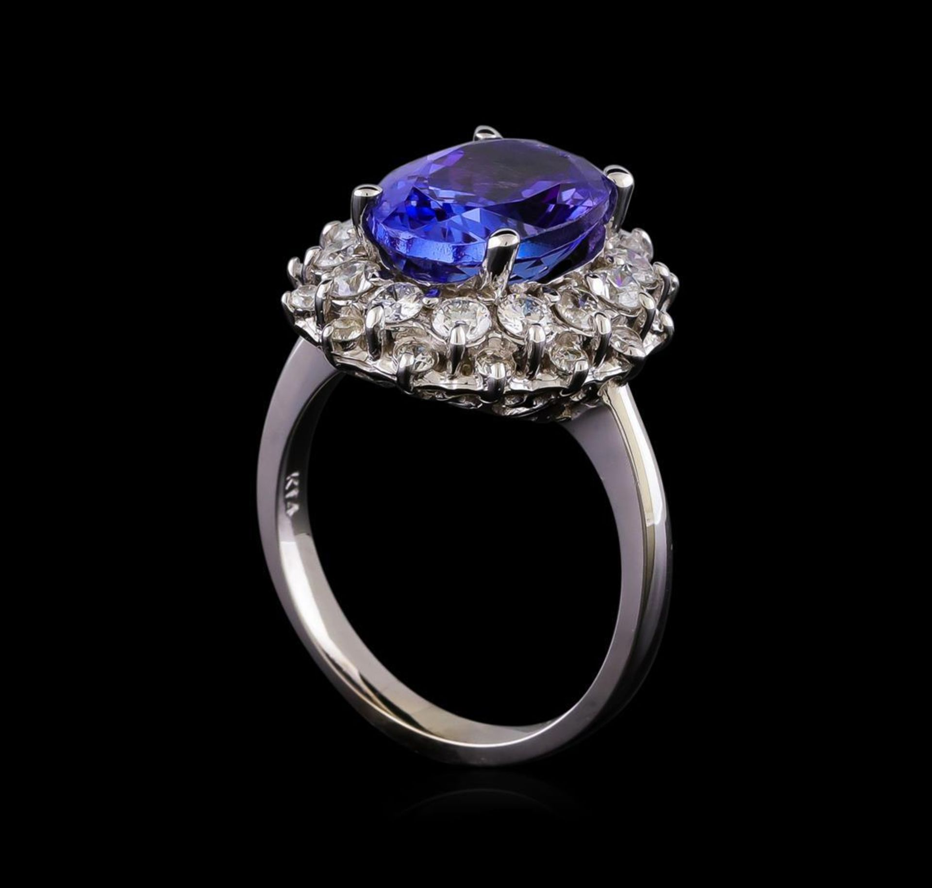 5.53 ctw Tanzanite and Diamond Ring - 14KT White Gold - Image 4 of 5