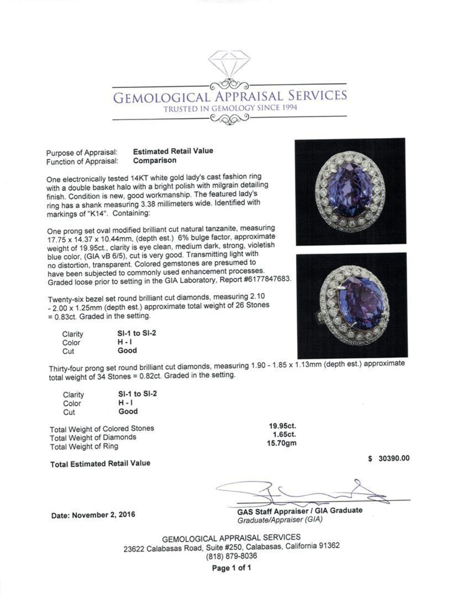 GIA Cert 19.95 ctw Tanzanite and Diamond Ring - 14KT White Gold - Image 5 of 6