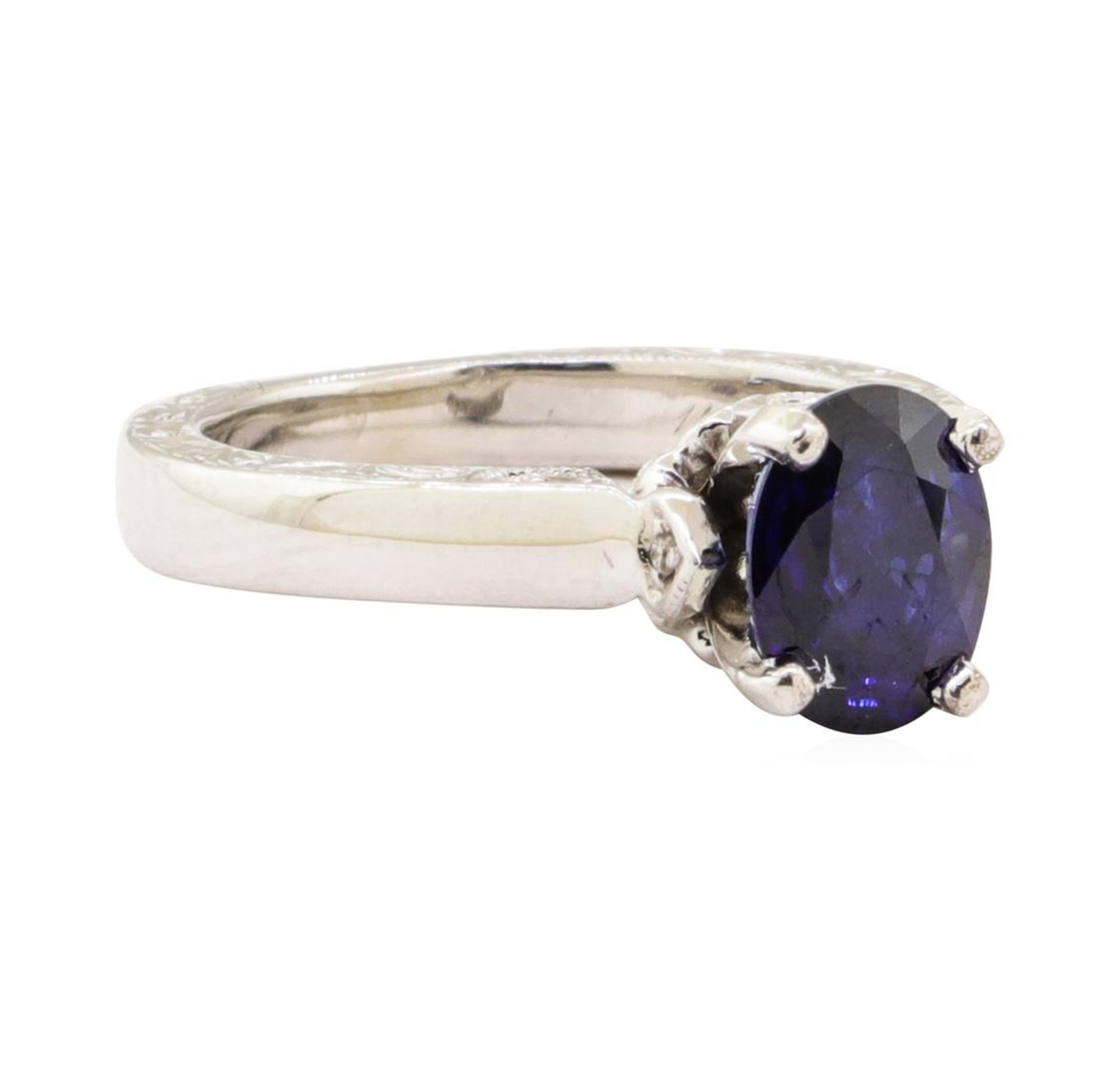 1.66 ctw Blue Sapphire and Diamond Ring - 14KT White Gold