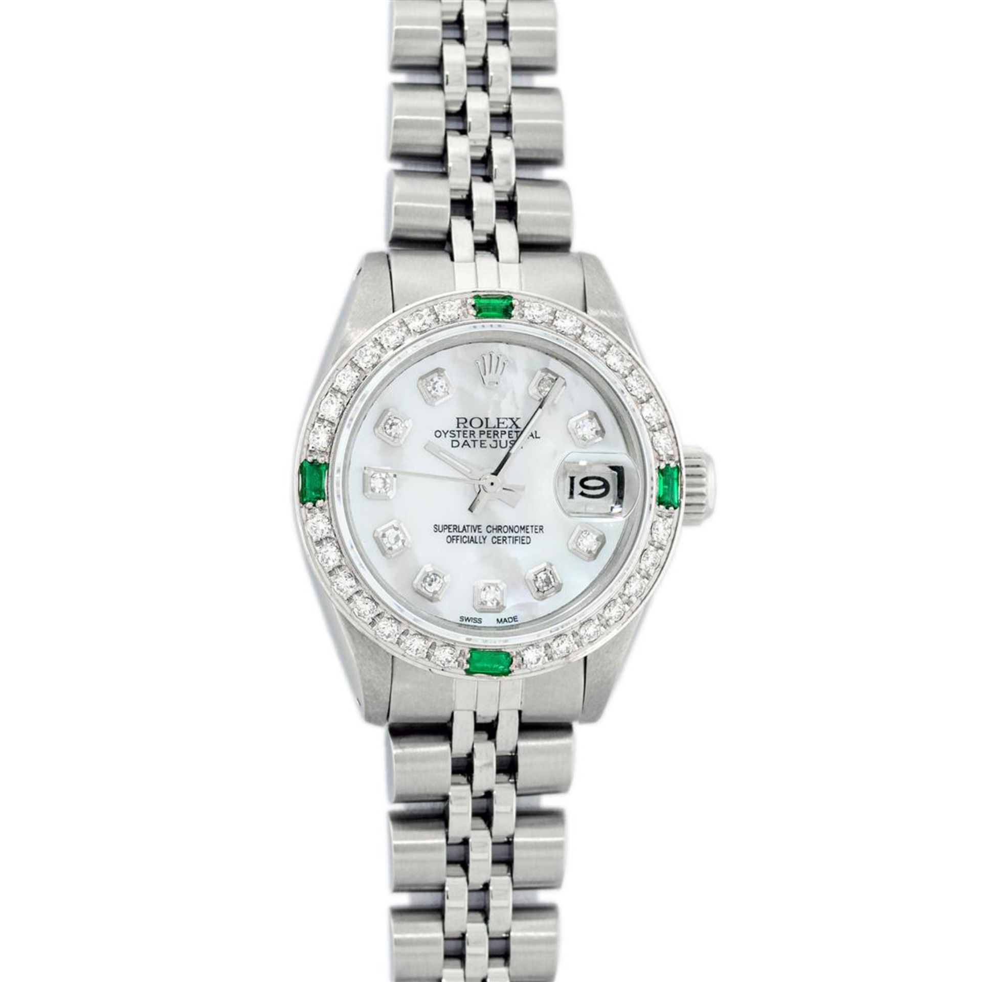 Rolex Ladies Stainless Steel Mother Of Pearl Diamond 26MM Datejust Wristwatch - Image 2 of 9