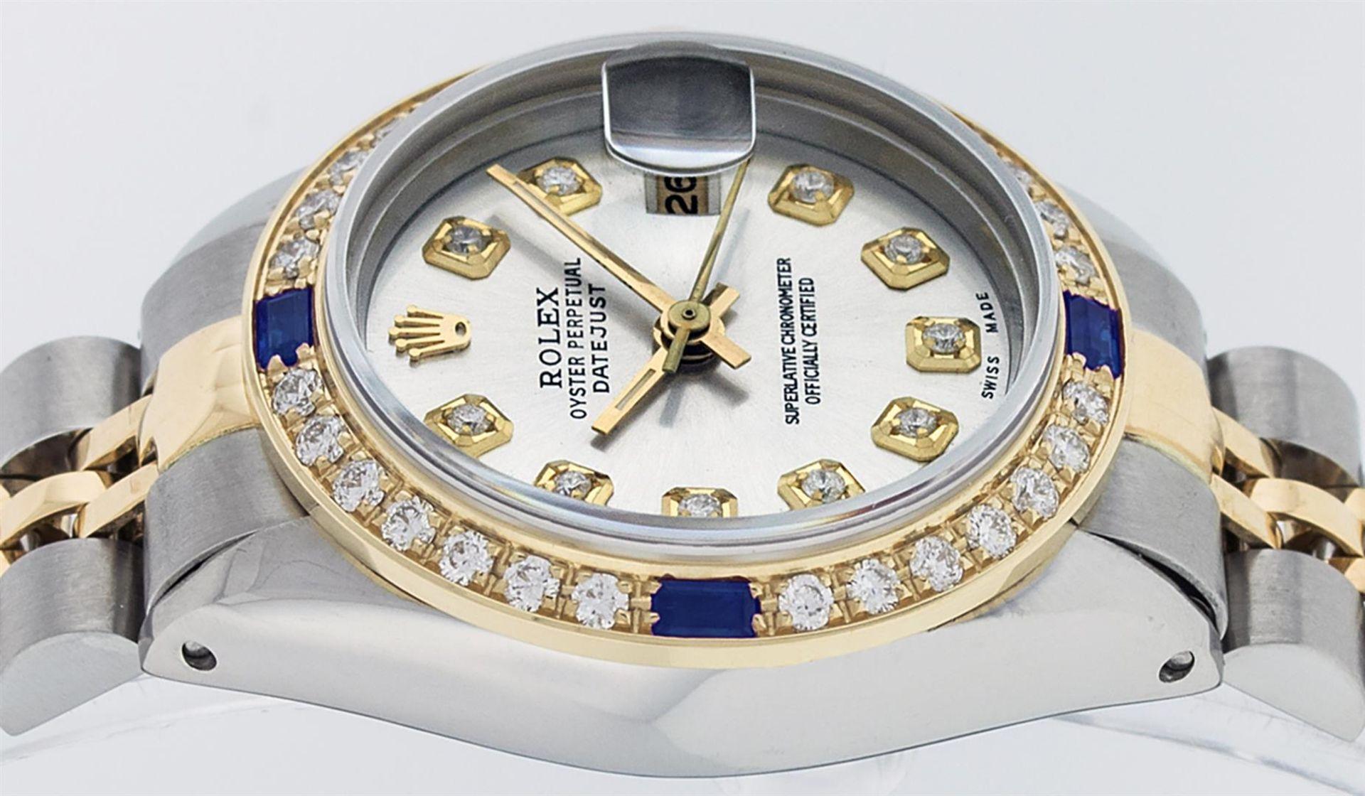 Rolex Ladies 2 Tone Silver Diamond & Sapphire Datejust Wristwatch - Image 4 of 9