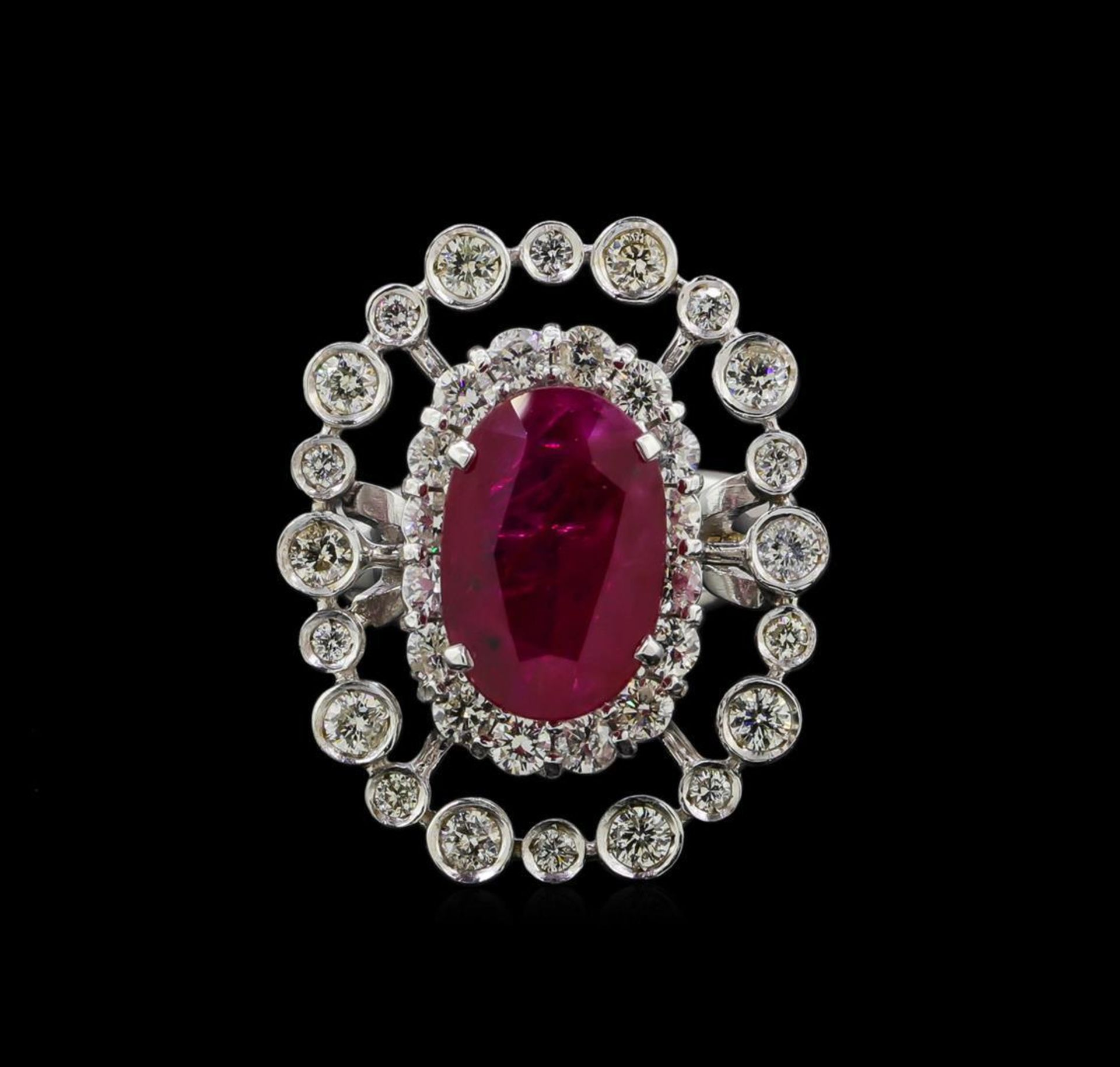 GIA Cert 4.22 ctw Ruby and Diamond Ring - 14KT White Gold - Image 2 of 6
