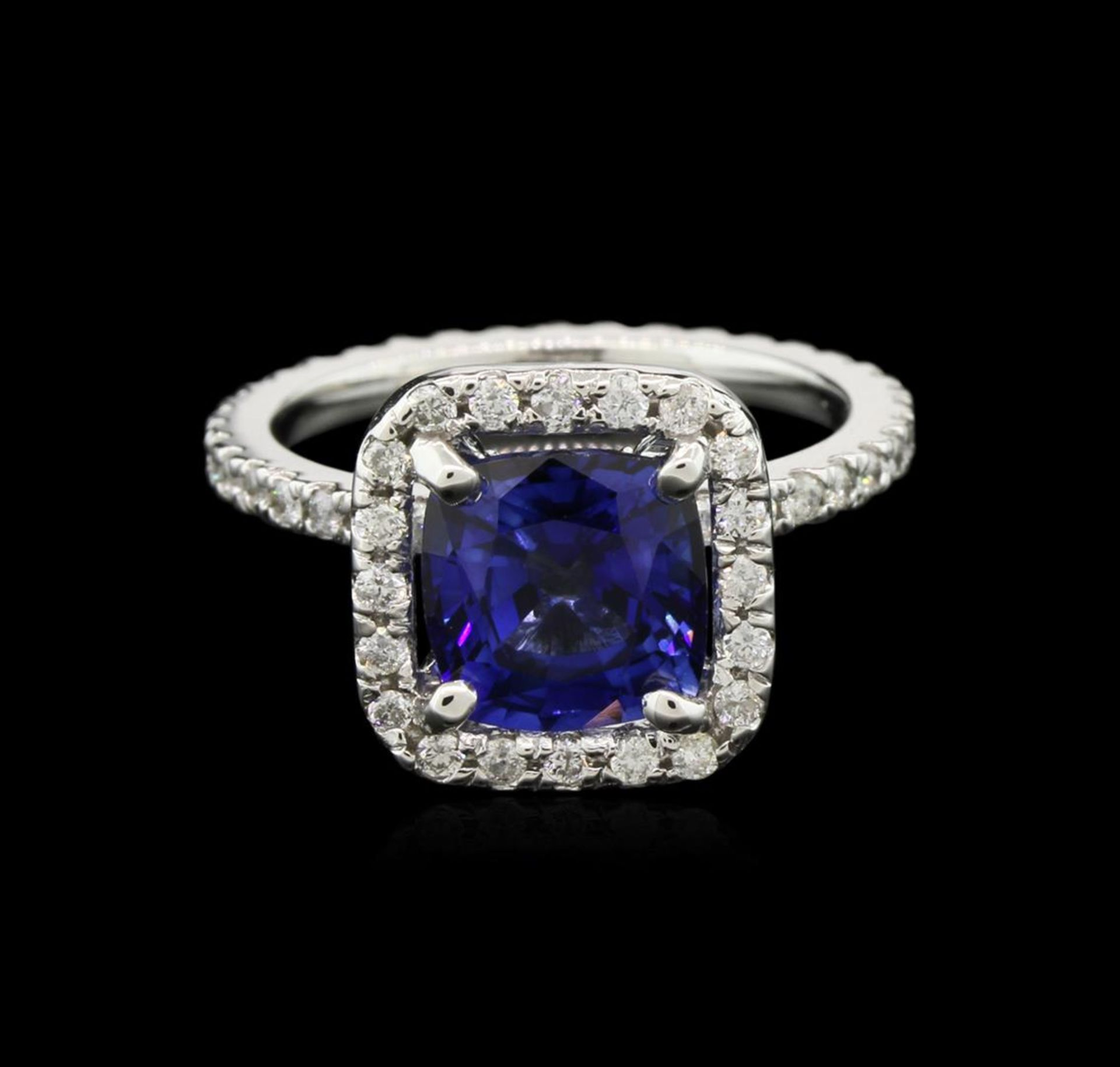 2.80 ctw Blue Sapphire and Diamond Ring - 14KT White Gold - Image 2 of 3