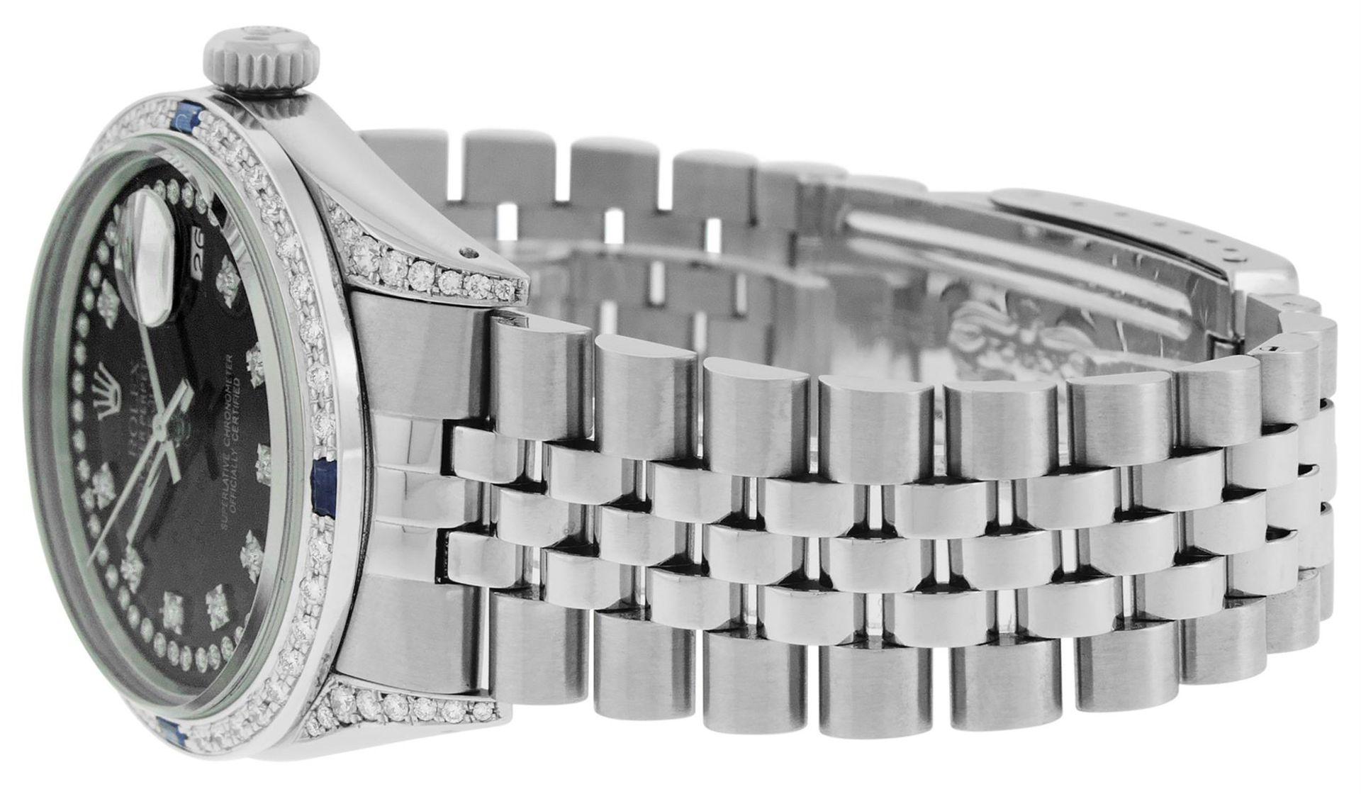 Rolex Mens Stainless Steel Black Diamond Lugs & Sapphire Datejust Wristwatch Oys - Image 3 of 9